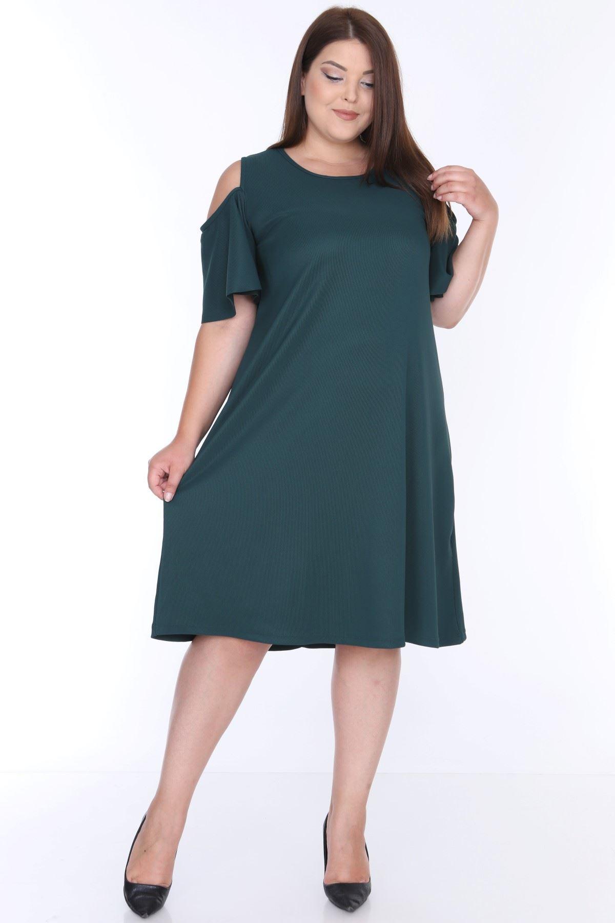 Açık Omuzlu Yeşil Büyük Beden Elbise 1B-0644