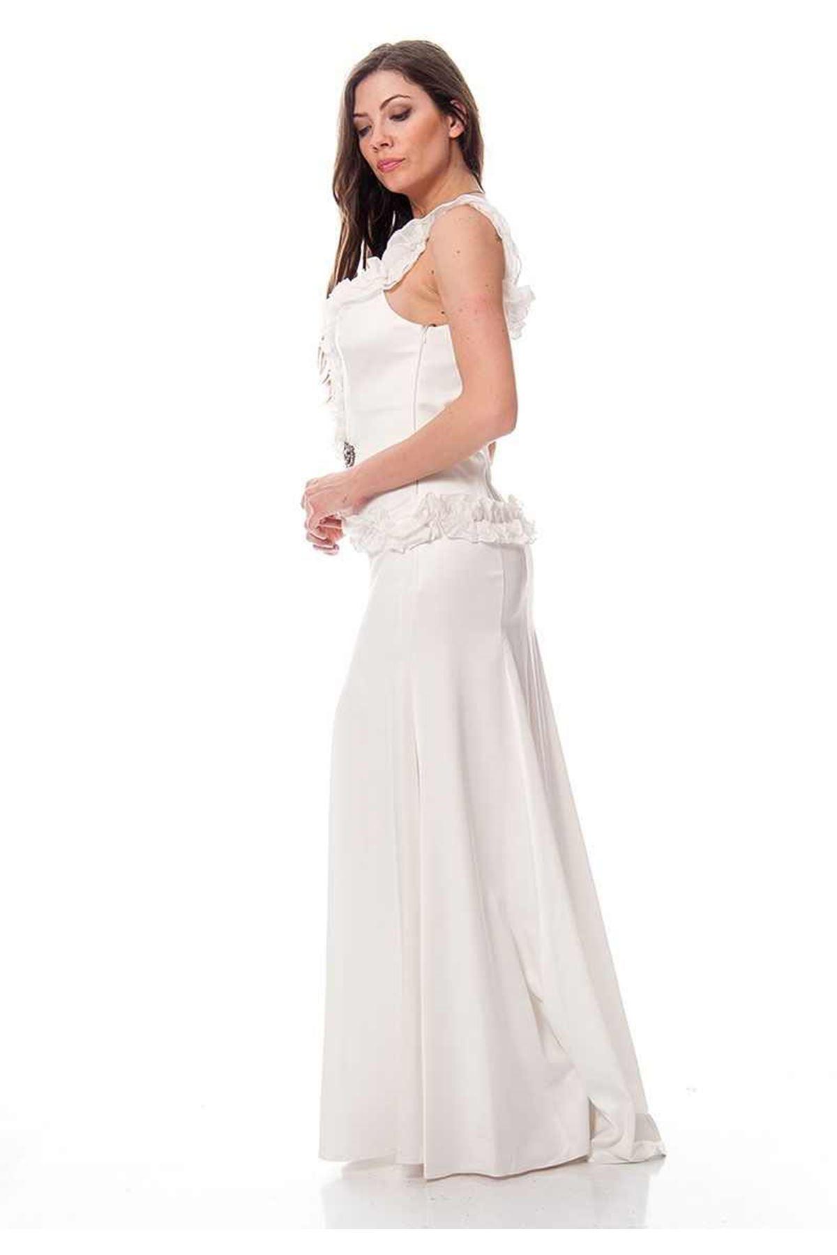 Beyaz Saten Abiye J9-115479