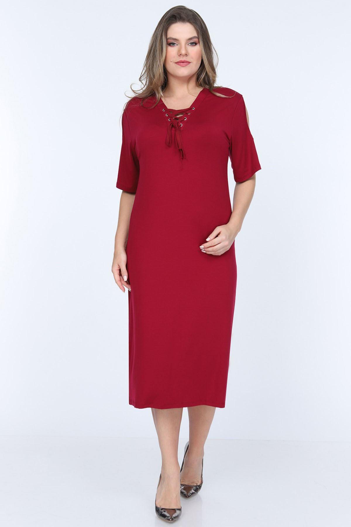 Bordo Viskon Likralı Elbise 18E-0685