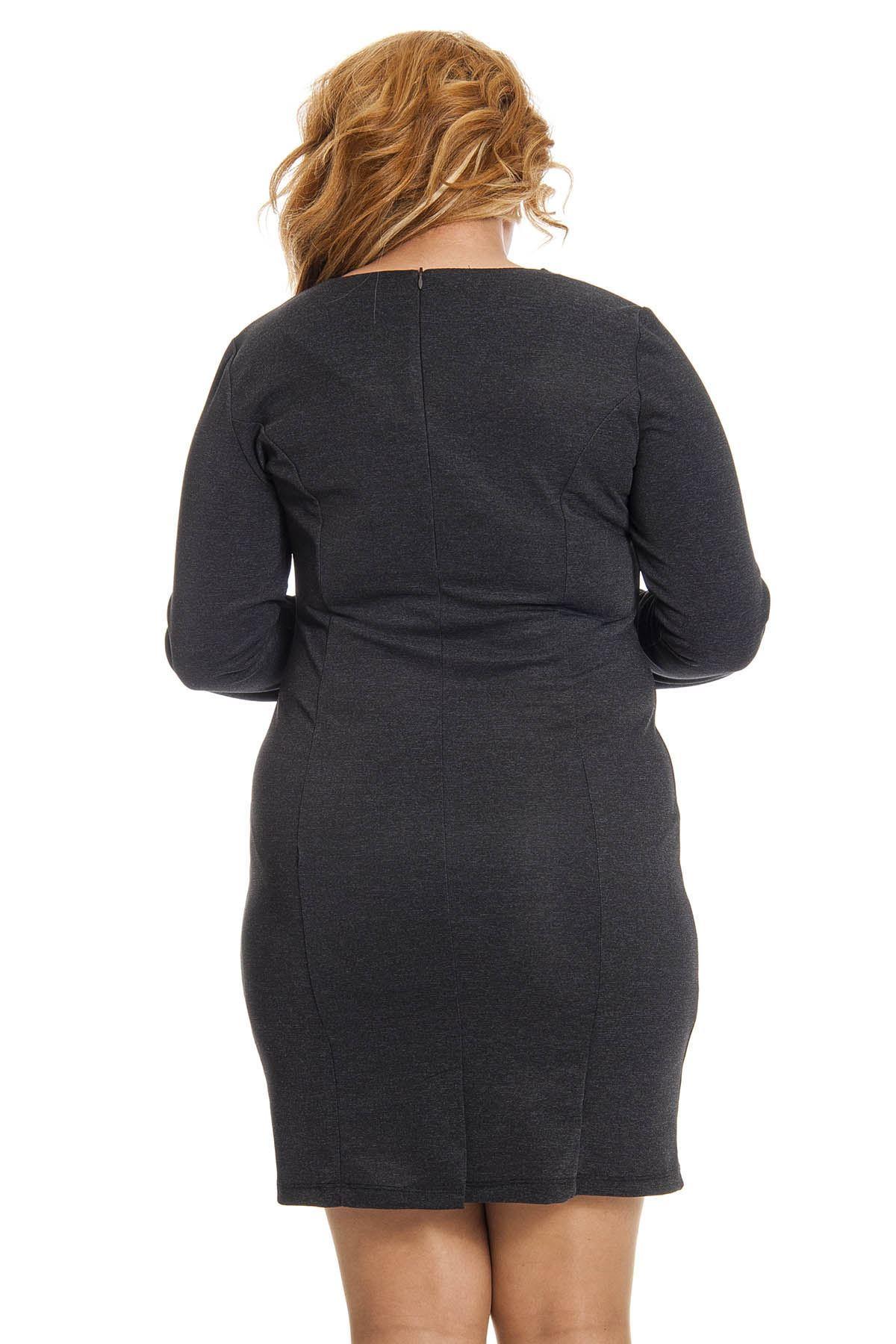 Büyük Beden Antrasit Yaka Detaylı Kadın Elbise J1-123206