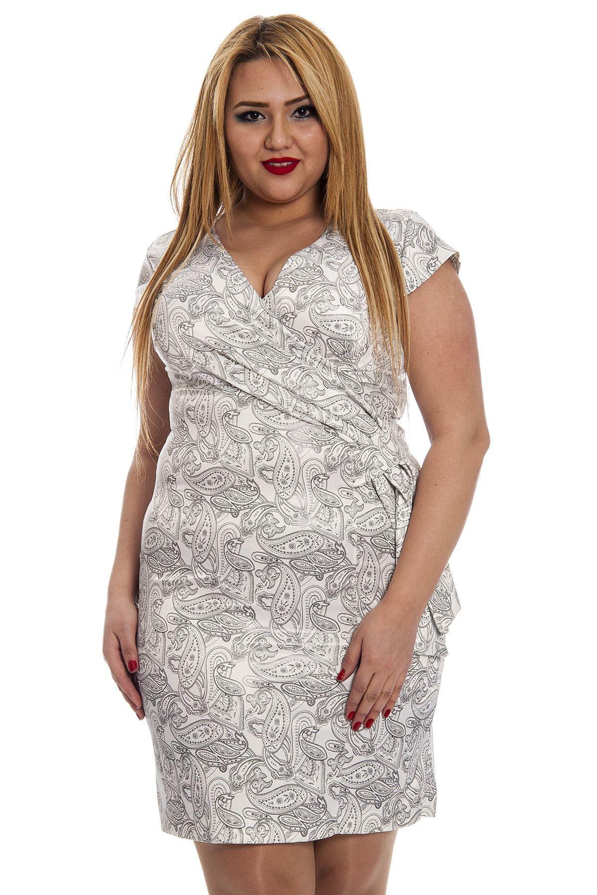Büyük Beden Saten Desenli Kadın Elbise H12-132368