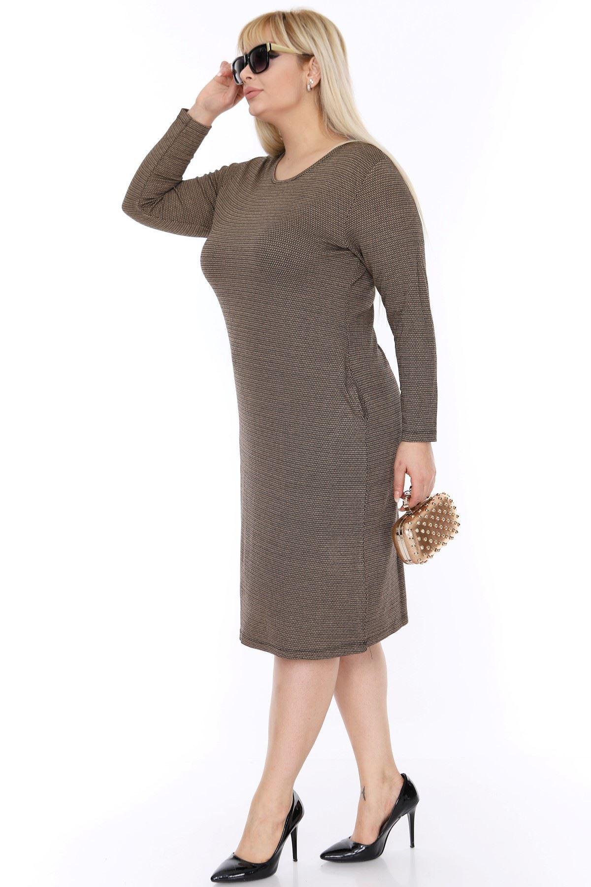 Cepli Büyük Beden Elbise 3D-0390