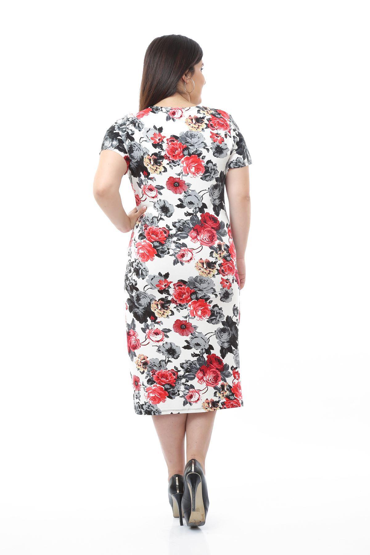 Çiçek Desenli Likralı Viskon Büyük Beden Elbise 1D-0663