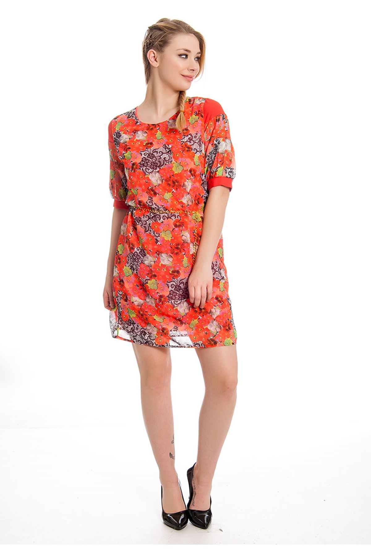 Çiçek Desenli Kadın Elbise I4-127941