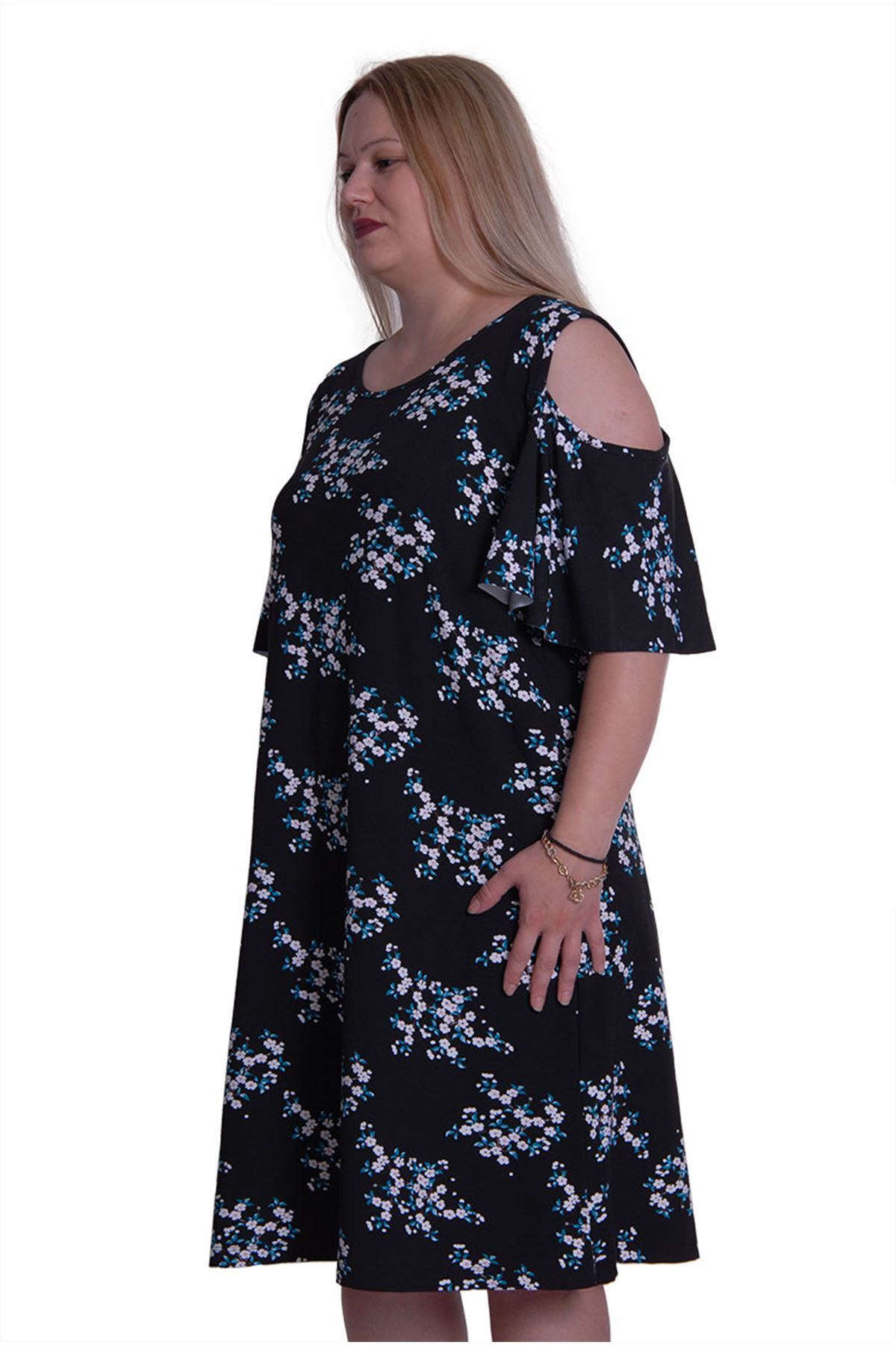 Çiçekli İspanyol Kol Elbise 2D-0163