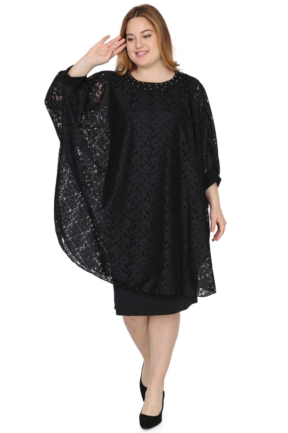 Dantel Abiye Siyah Elbise 6B-0524