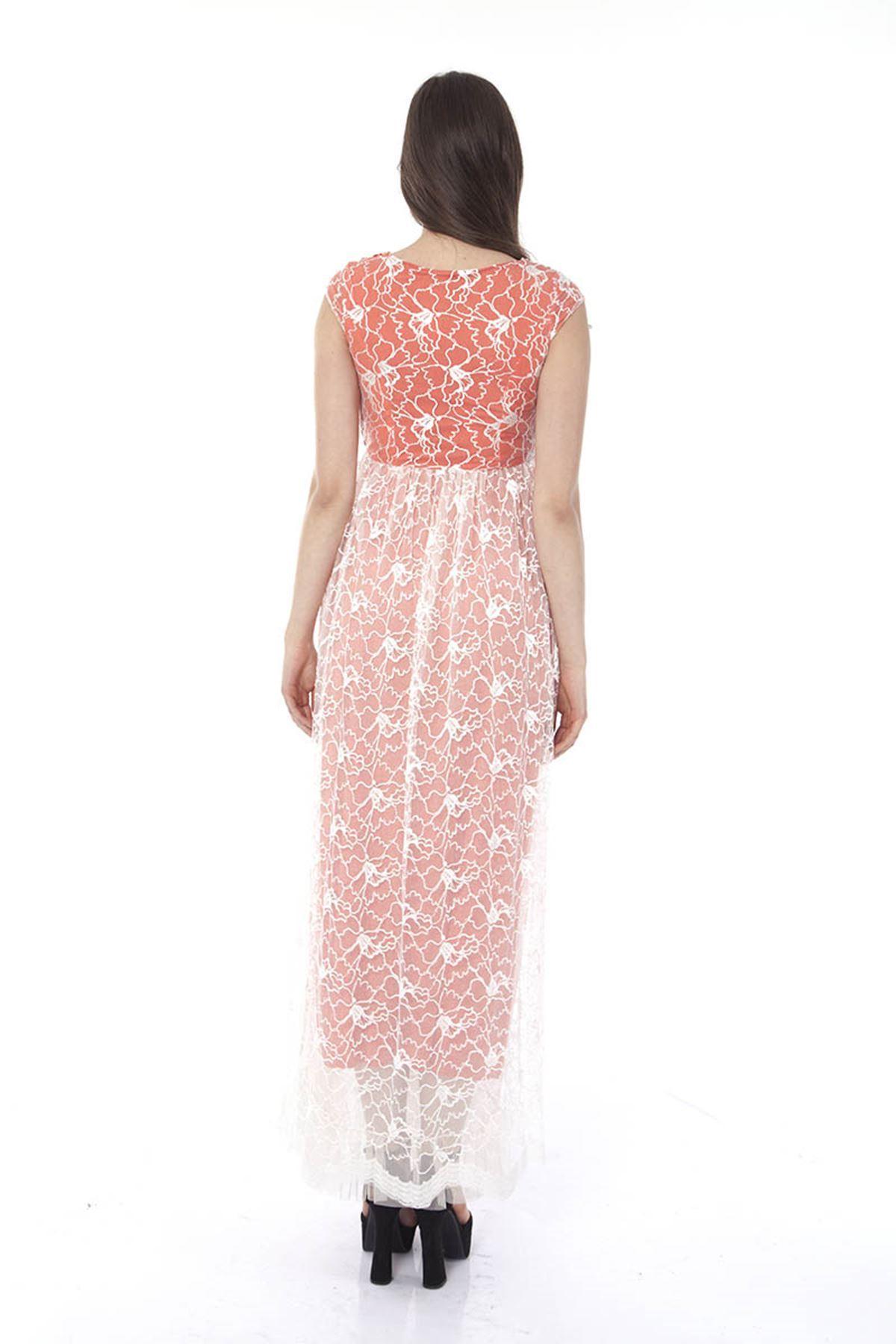Dantelli Uzun Elbise I8-0659