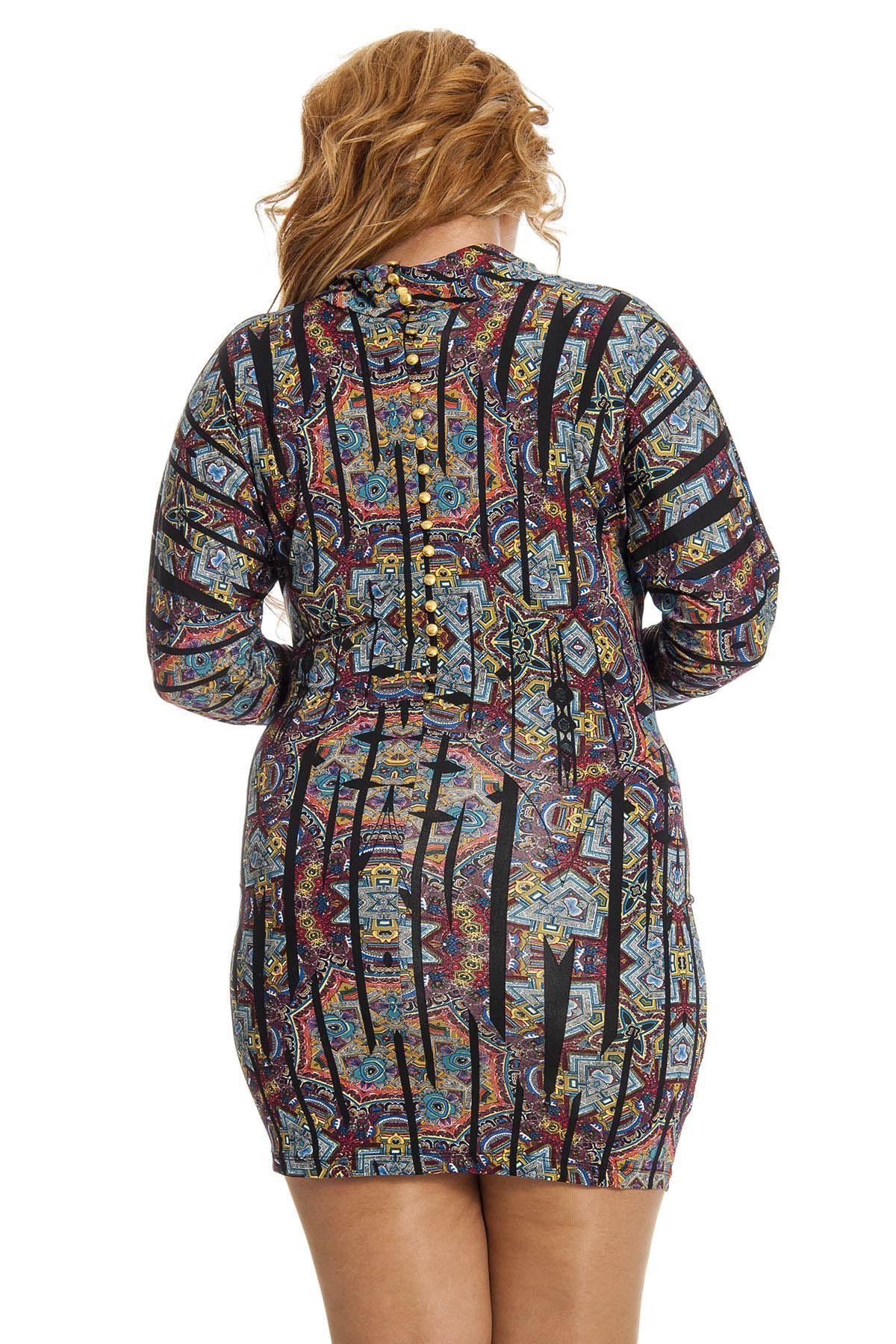 Desenli Altın Düğme Detaylı Kadın Elbise I2-123102