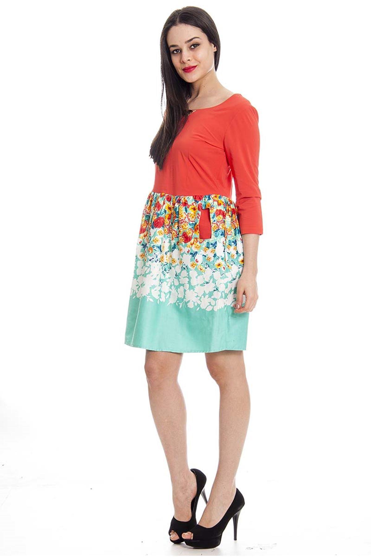 Desenli Elbise H3-0366