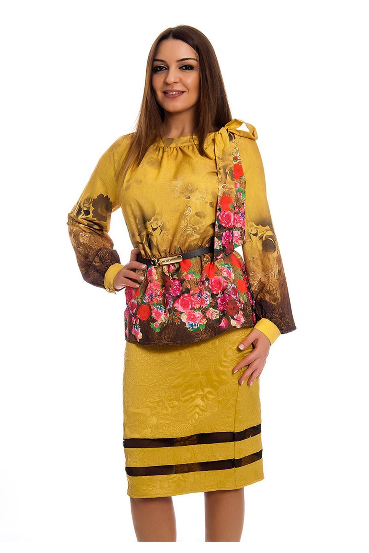 Desenli İki Parça Kadın Elbise J10-124401
