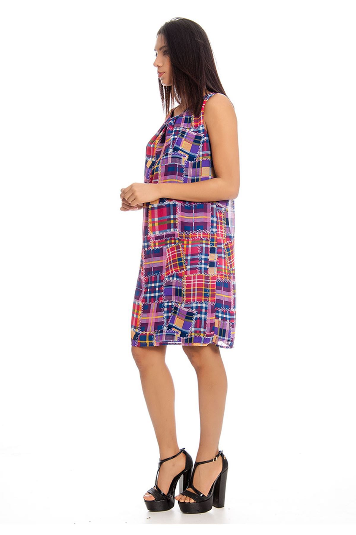Desenli Kadın Elbise F3-129152