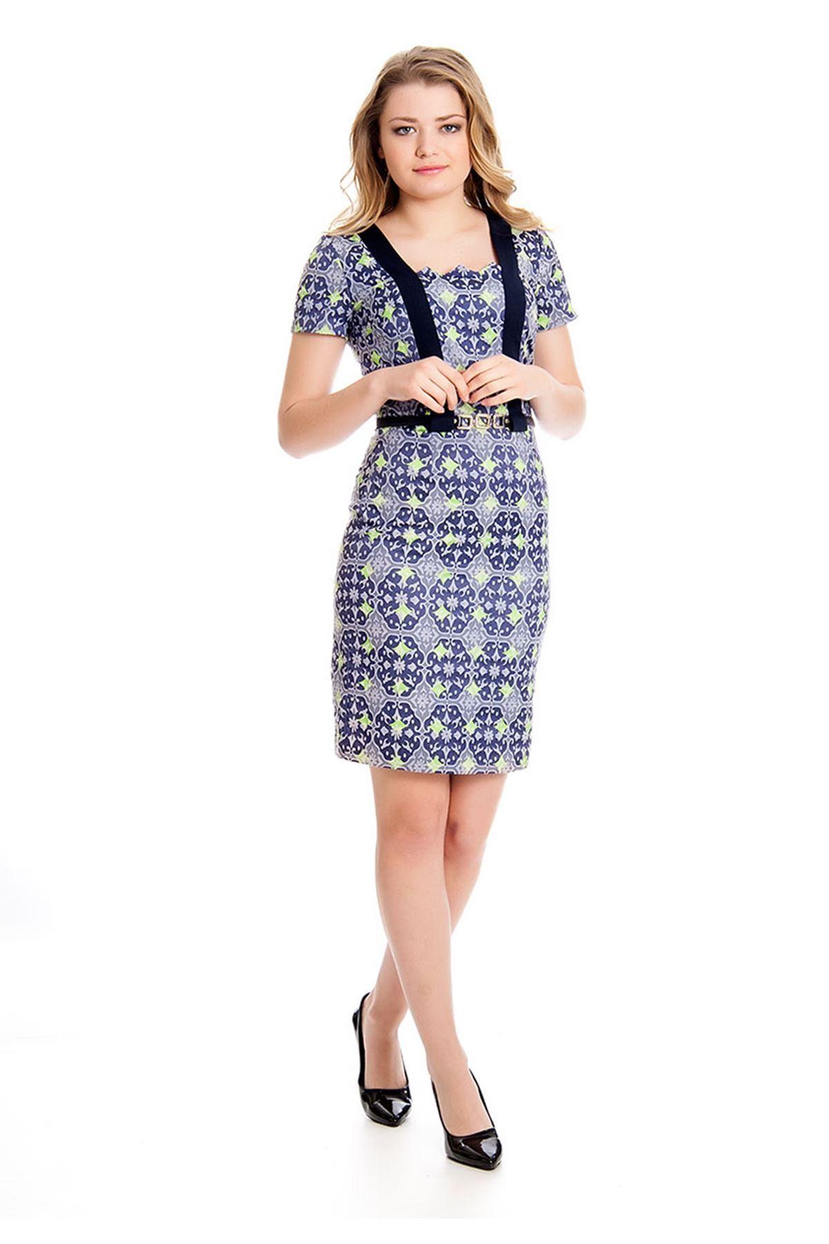 Desenli Kemerli Kadın Elbise K12-126640