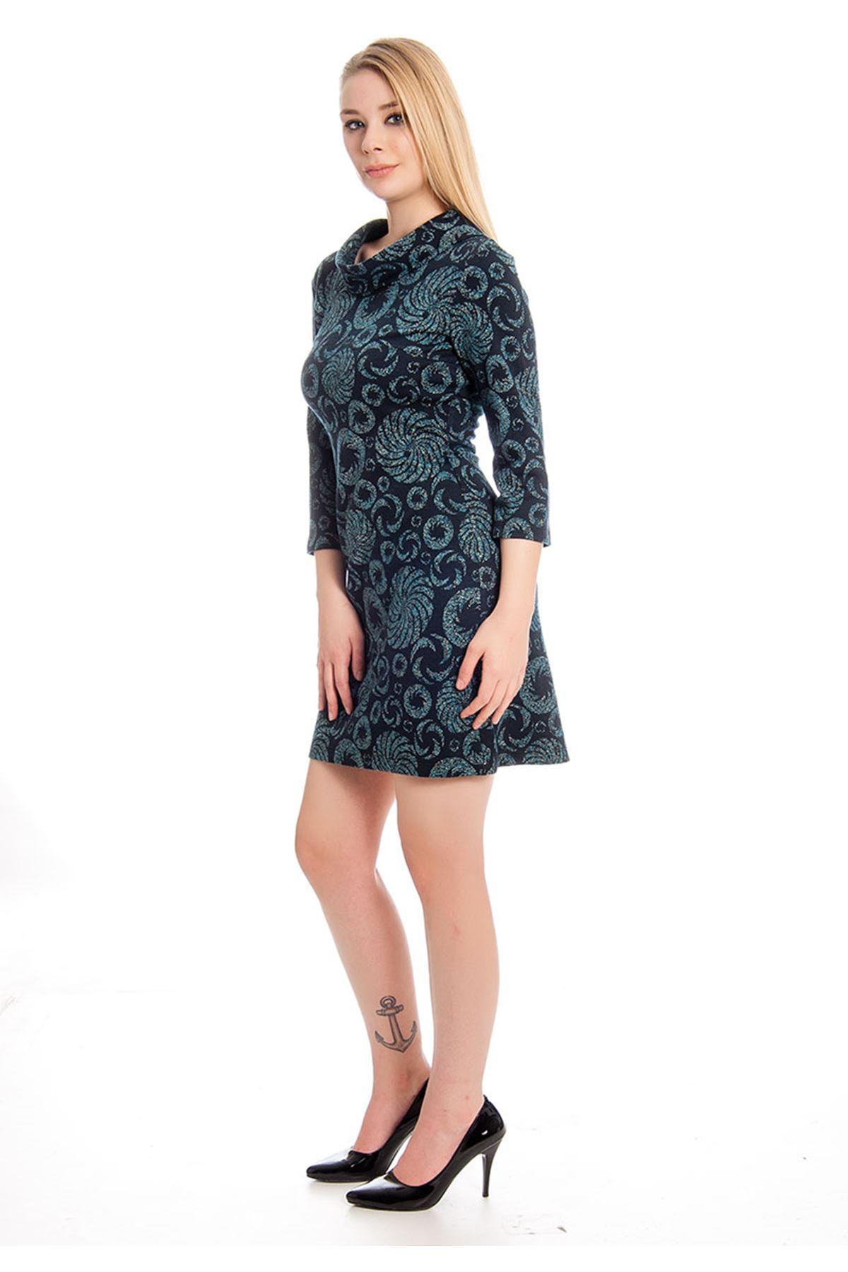Desenli Sim Detaylı Kadın Elbise I4-128109