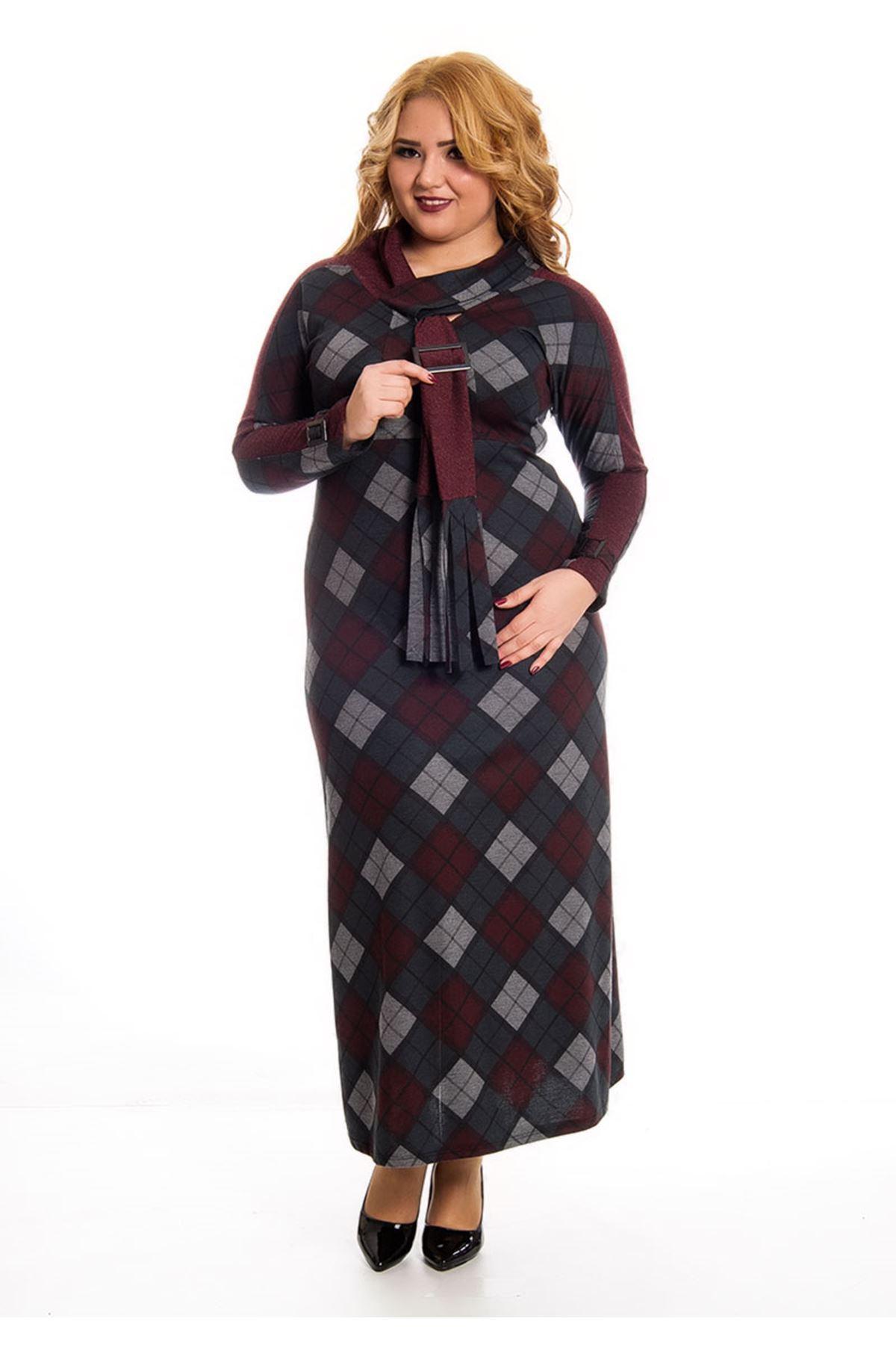 Ekose Desenli Uzun Elbise F7-122890