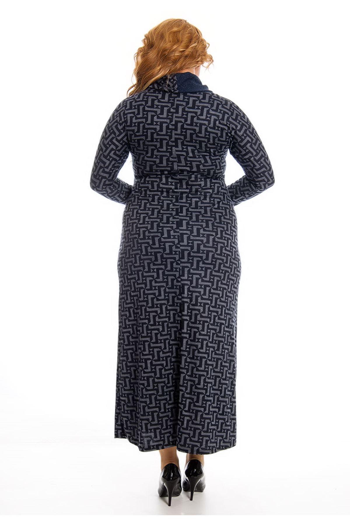 Desenli Yaka Detaylı Uzun Elbise F7-122878