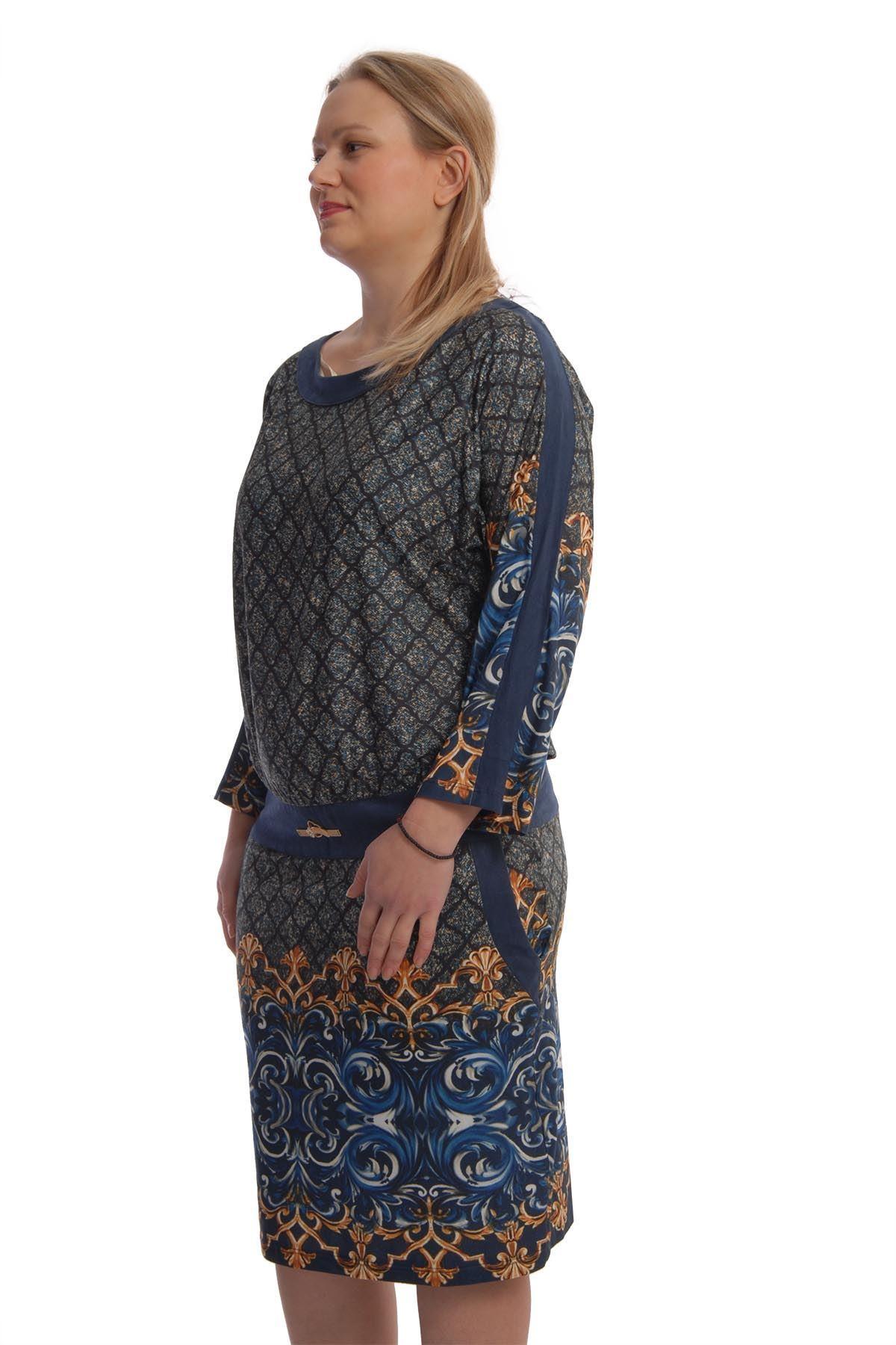 Desenli Yumuşak Kumaş Elbise K11-66076