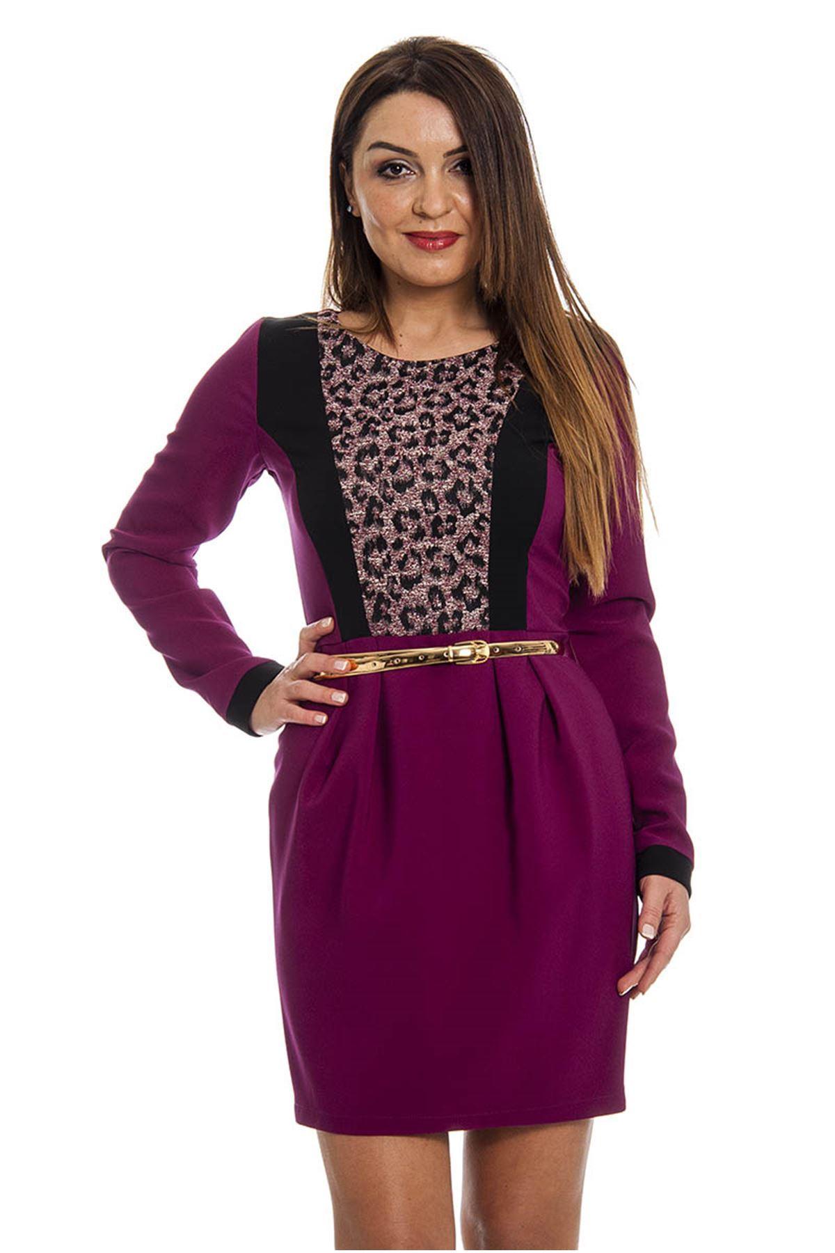 Eflatun Leopar Desenli Kemerli Kadın Elbise K11-121963