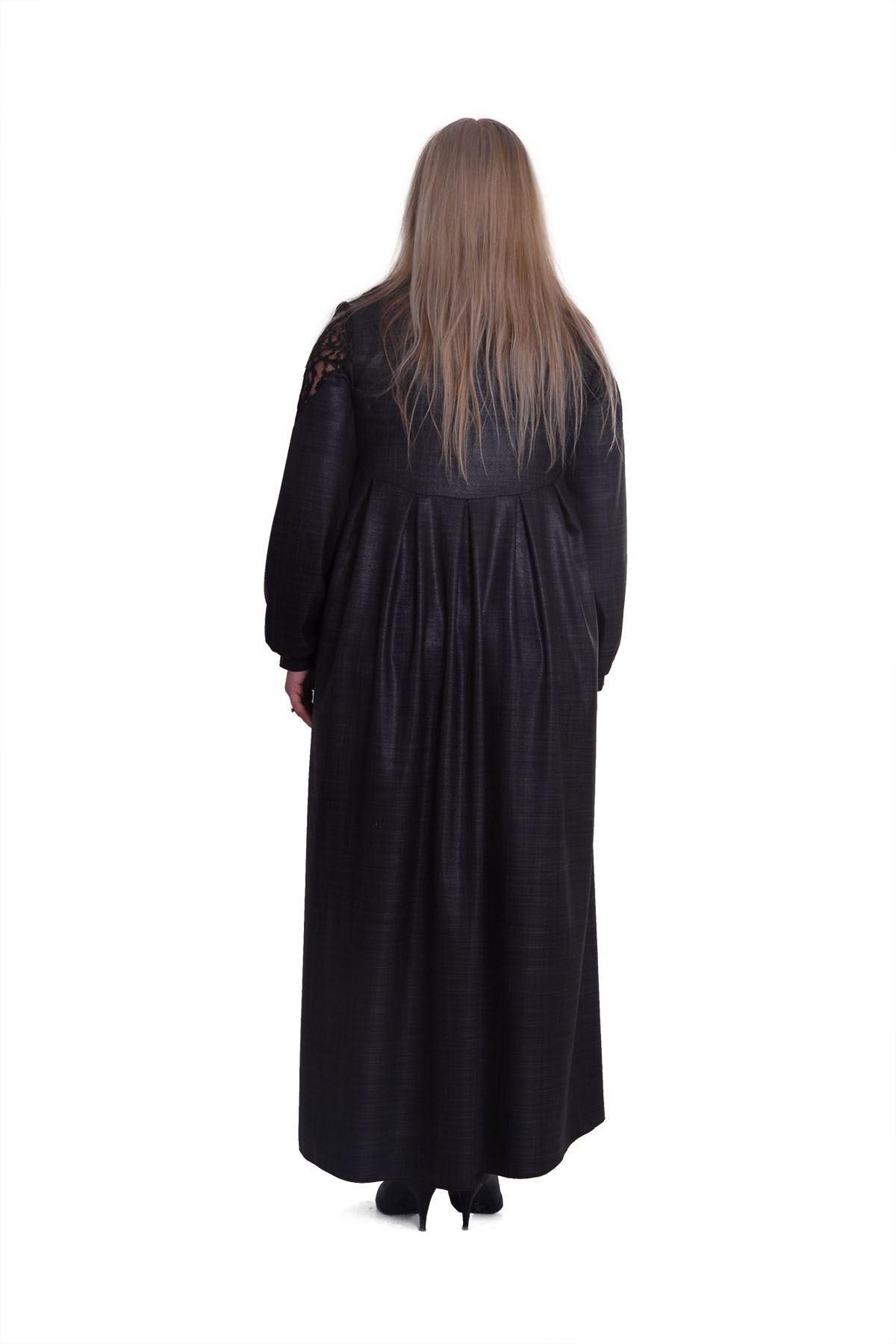 Düğmeli Yaka Büyük Beden Elbise H2-0432