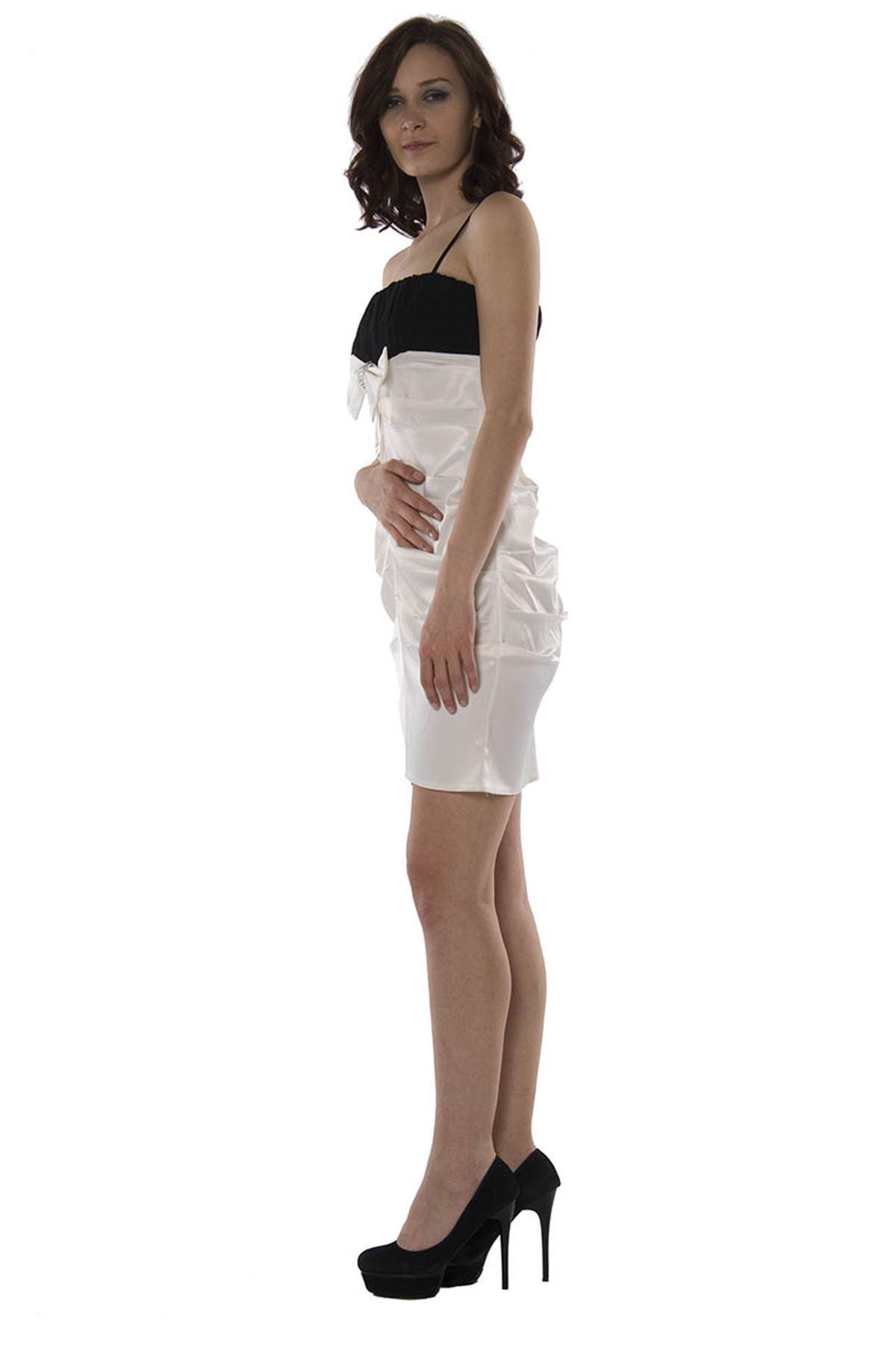 Ekru-Siyah Abiye Elbise I12-75603