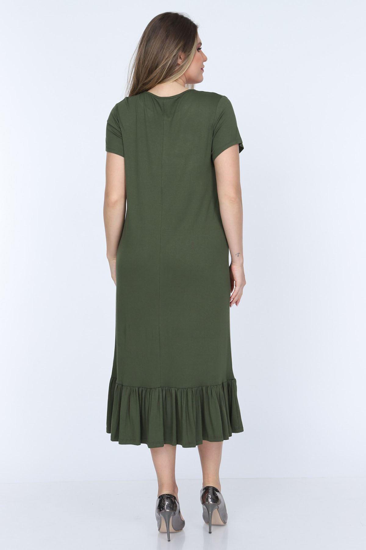 Eteği Fırfırlı Yeşil Büyük Beden Elbise 11D-0701