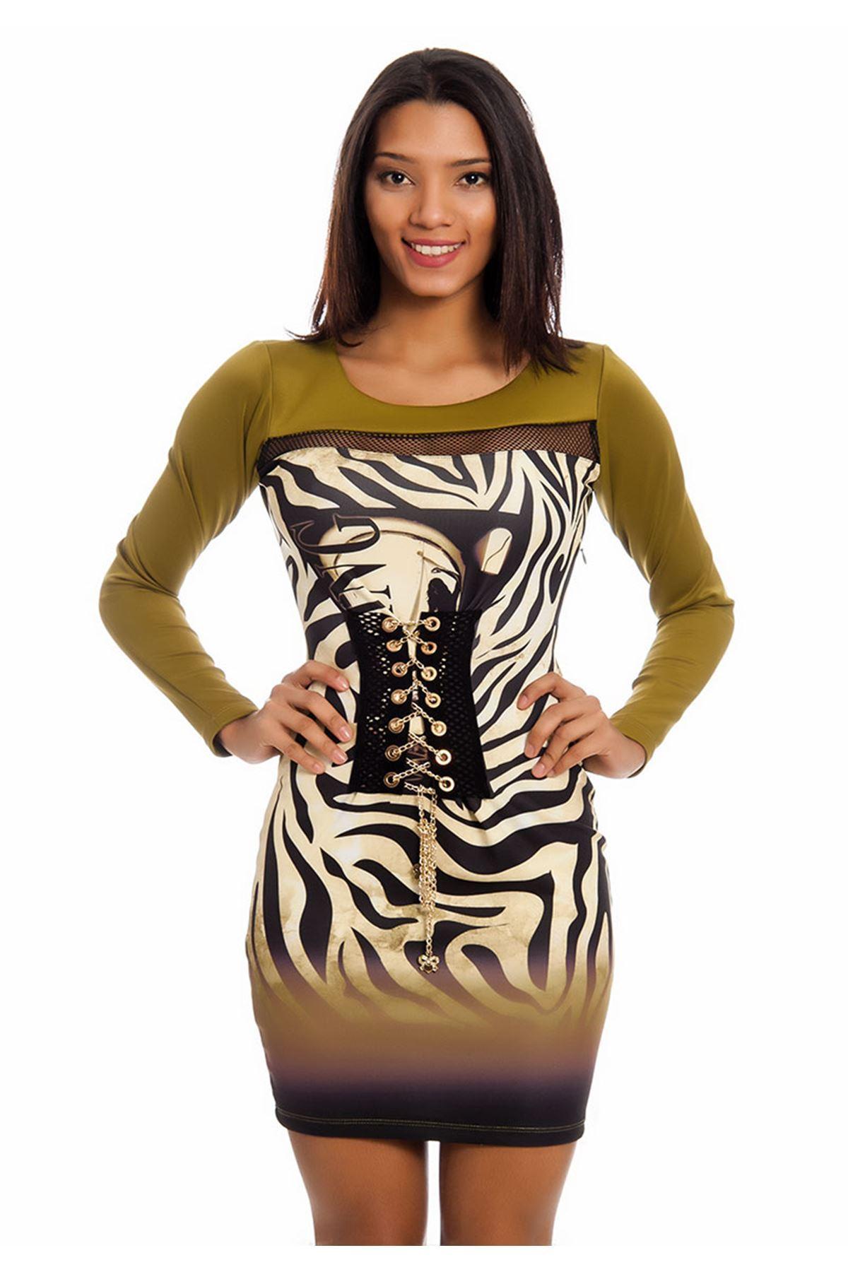 Fıstık Yeşili Zincir Detaylı Kadın Elbise H7-125790