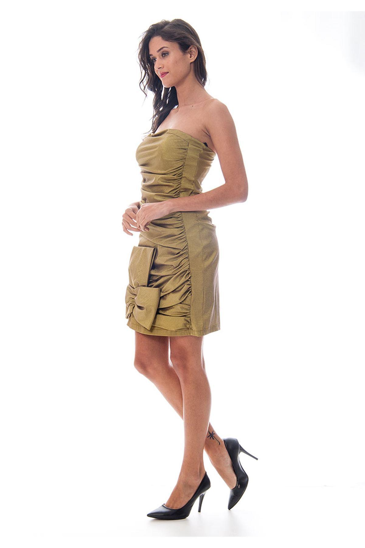 Fıstık Yeşil Fiyonk Detaylı Abiye Elbise I6-120078