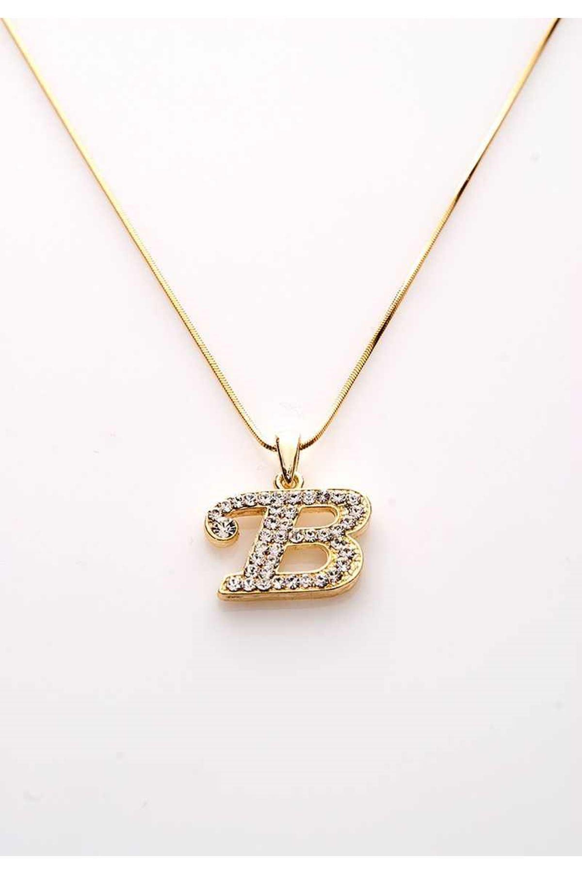 Gold Taşlı B Harf Kolye 11Ç-107839