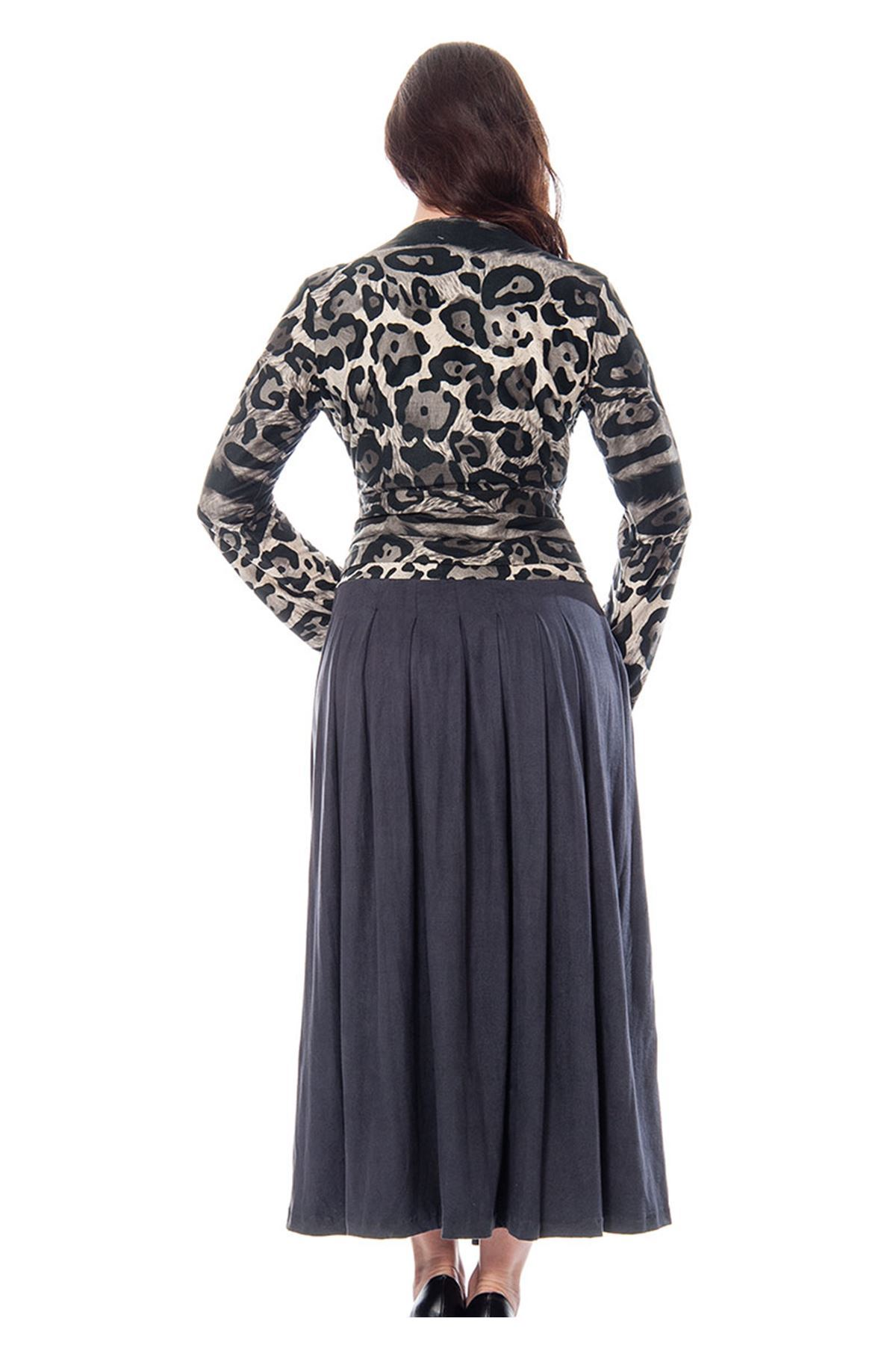 Füme Desenli Nubuk Elbise G9-110795