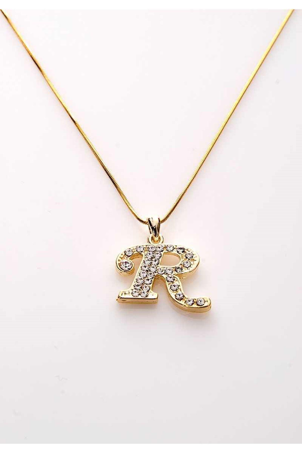 Gold Taşlı S Harf Kolye 11Ç-107854