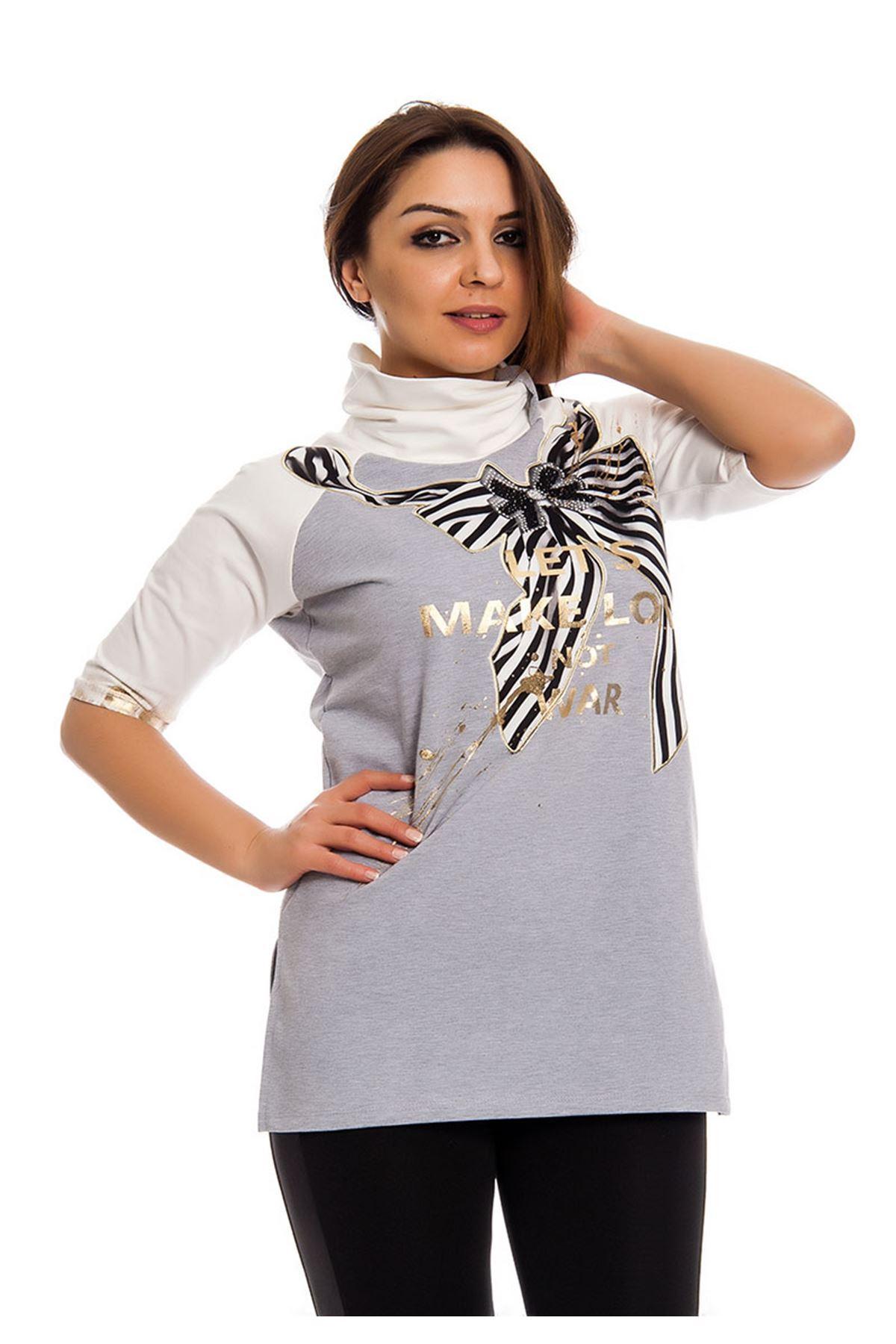Gri Gold Baskılı Yaka Detaylı Kadın Bluz I10-124593