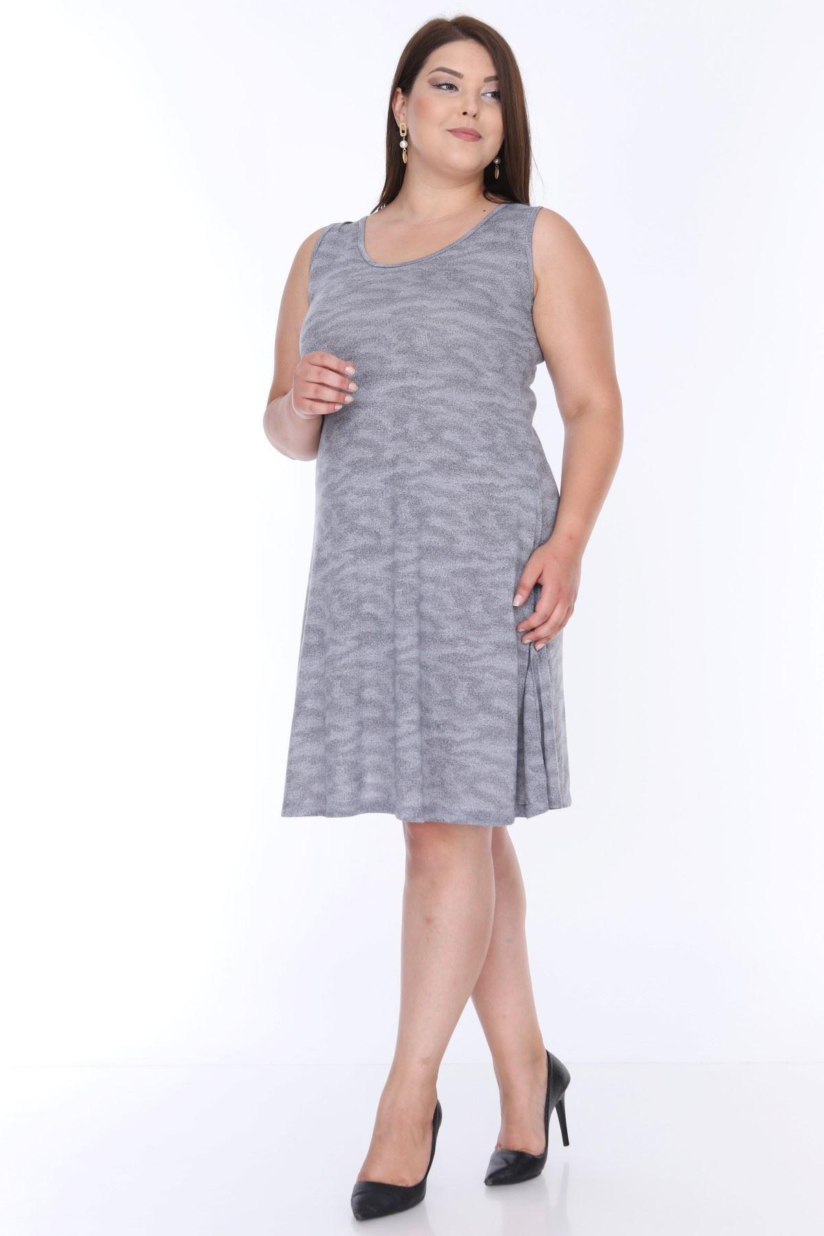 Gri Kolsuz Büyük Beden Elbise 6B-0641