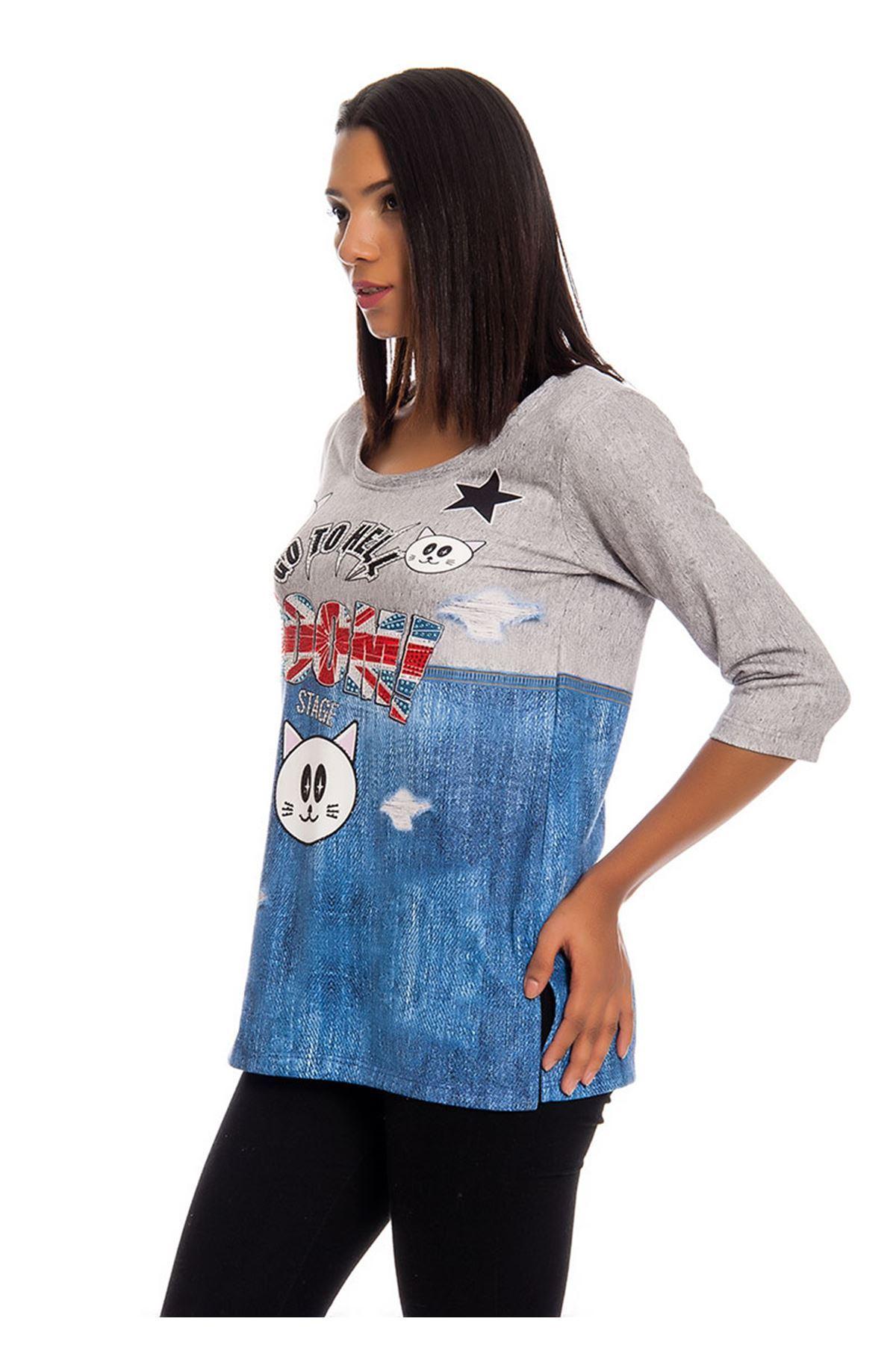 Gri Taş Baskılı Kadın Bluz I4-124017