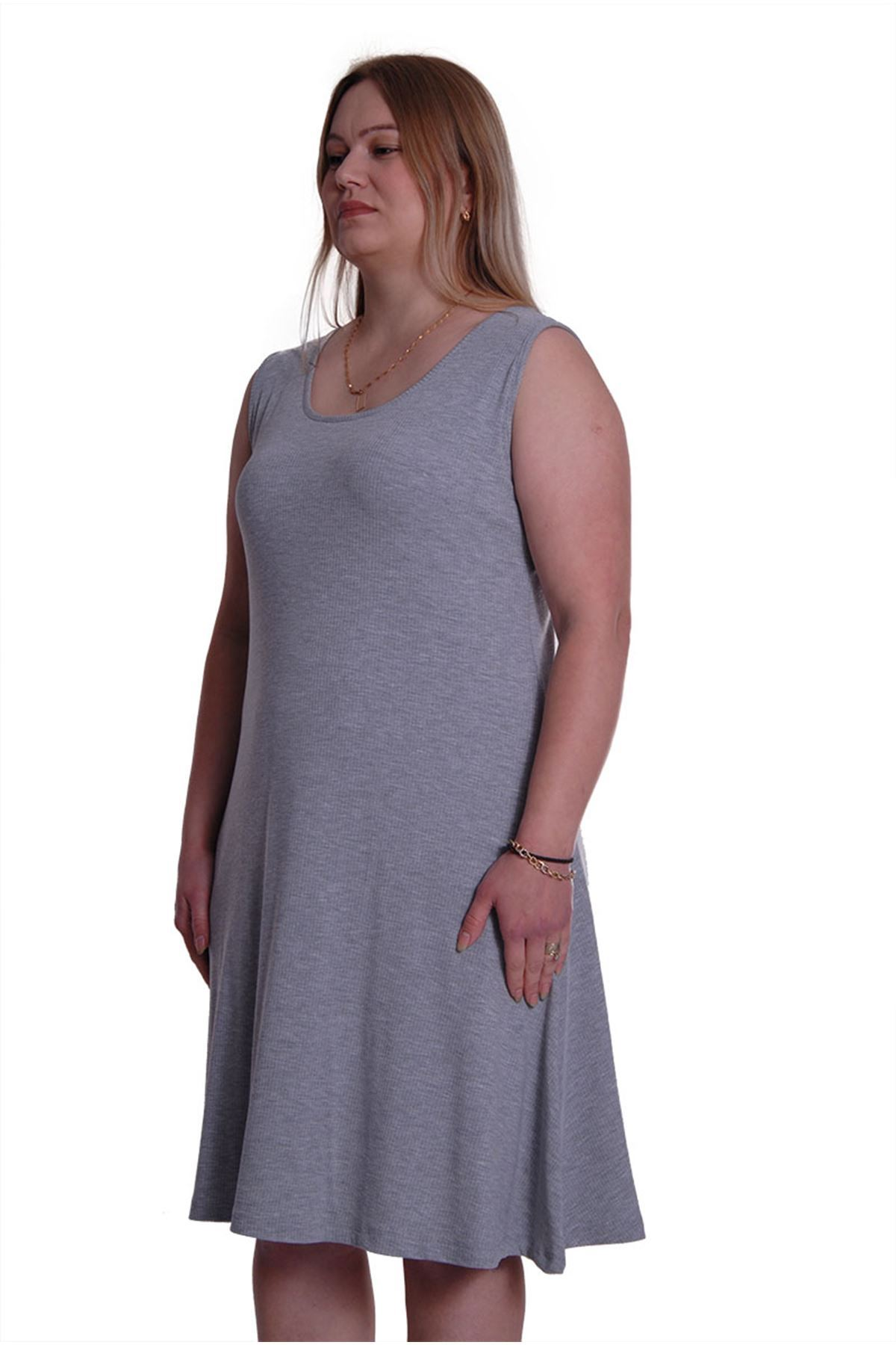 Gri Kolsuz Esnek Elbise 2C-0016