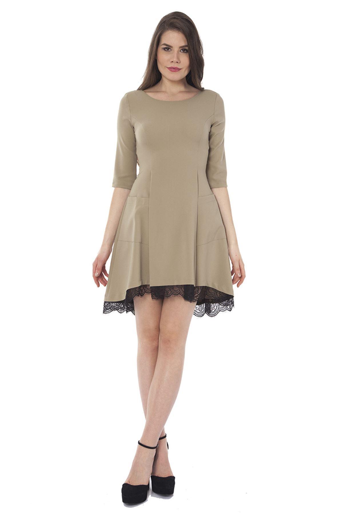 Haki Dantel Detaylı Kadın Elbise G5-121899