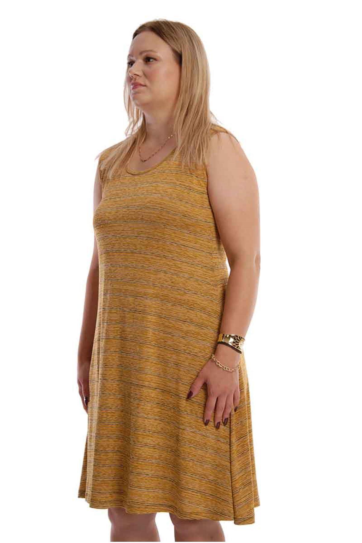 Hardal Kolsuz Büyük Beden Elbise 21A-68057