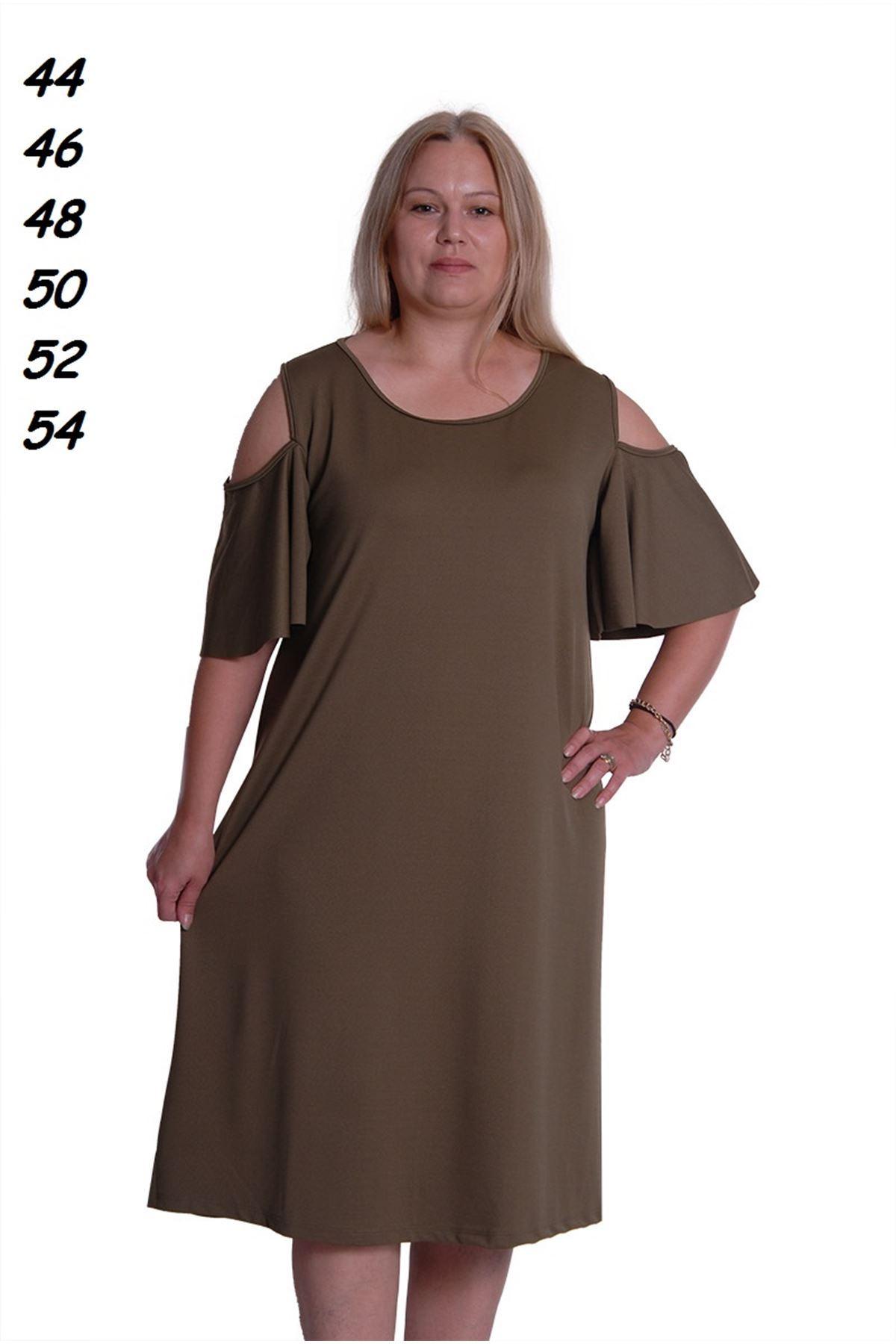 Haki Kloş Büyük Beden Elbise 4E-0291
