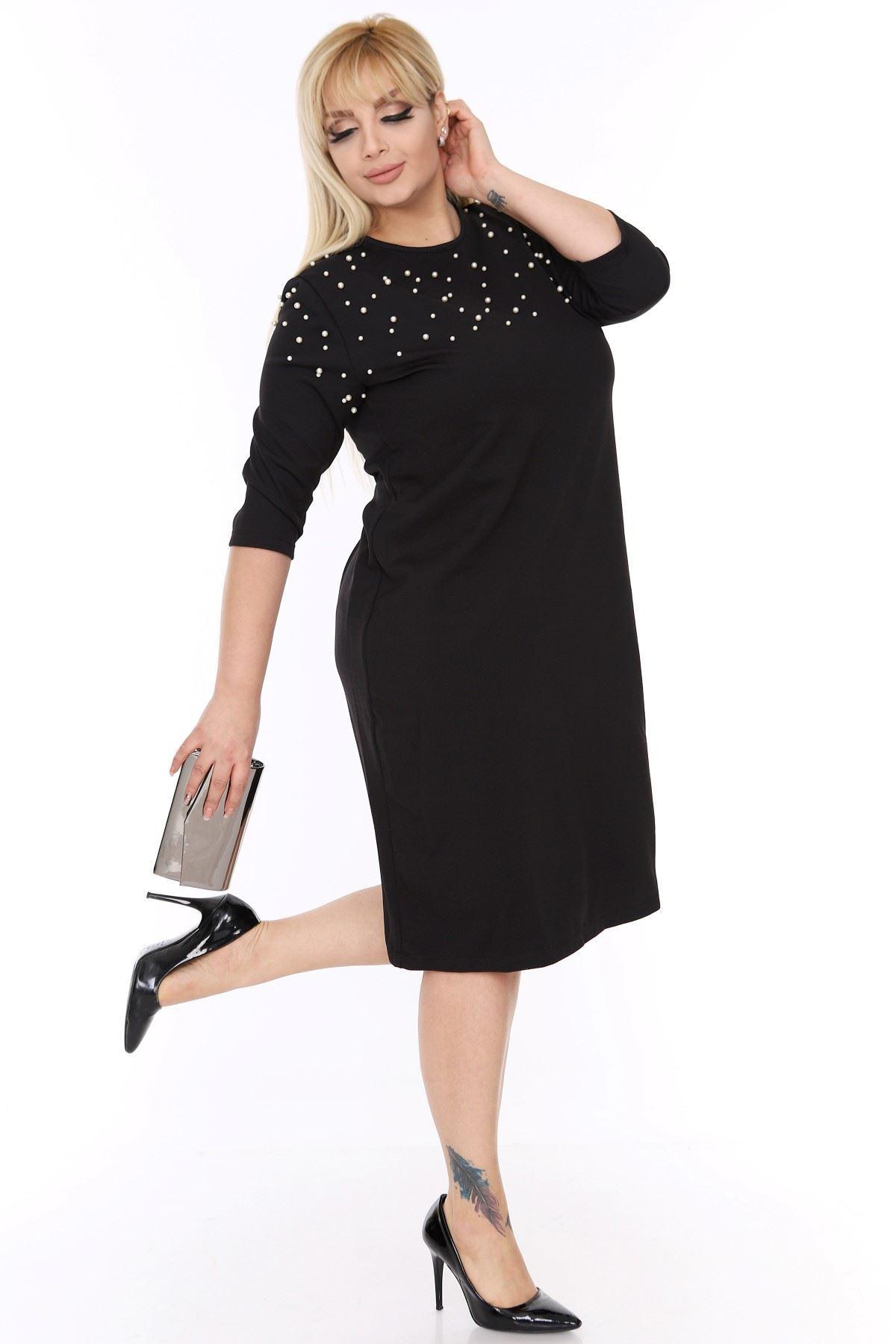 İncili Siyah Elbise 1C-69354
