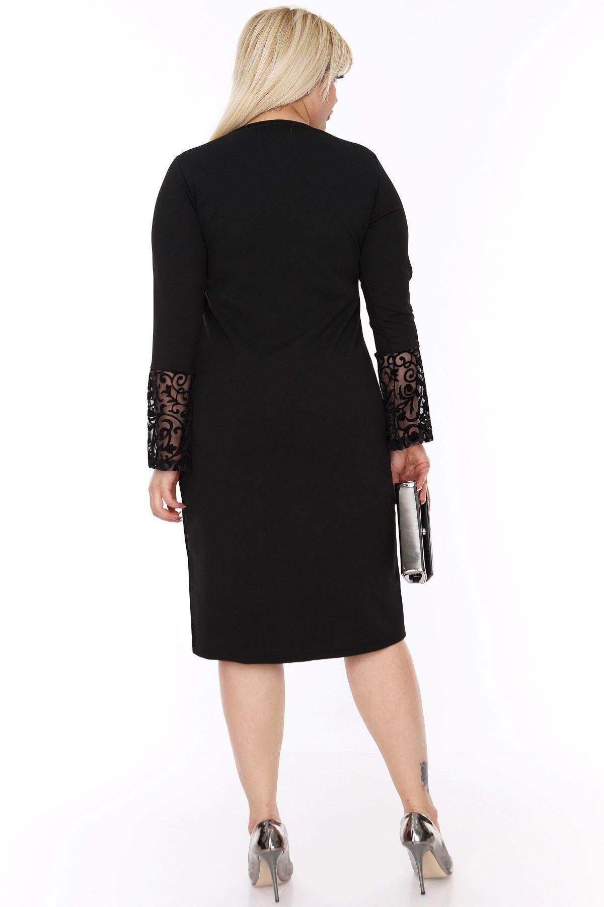 İspanyol Kol Siyah Büyük Beden Elbise 4D-69249