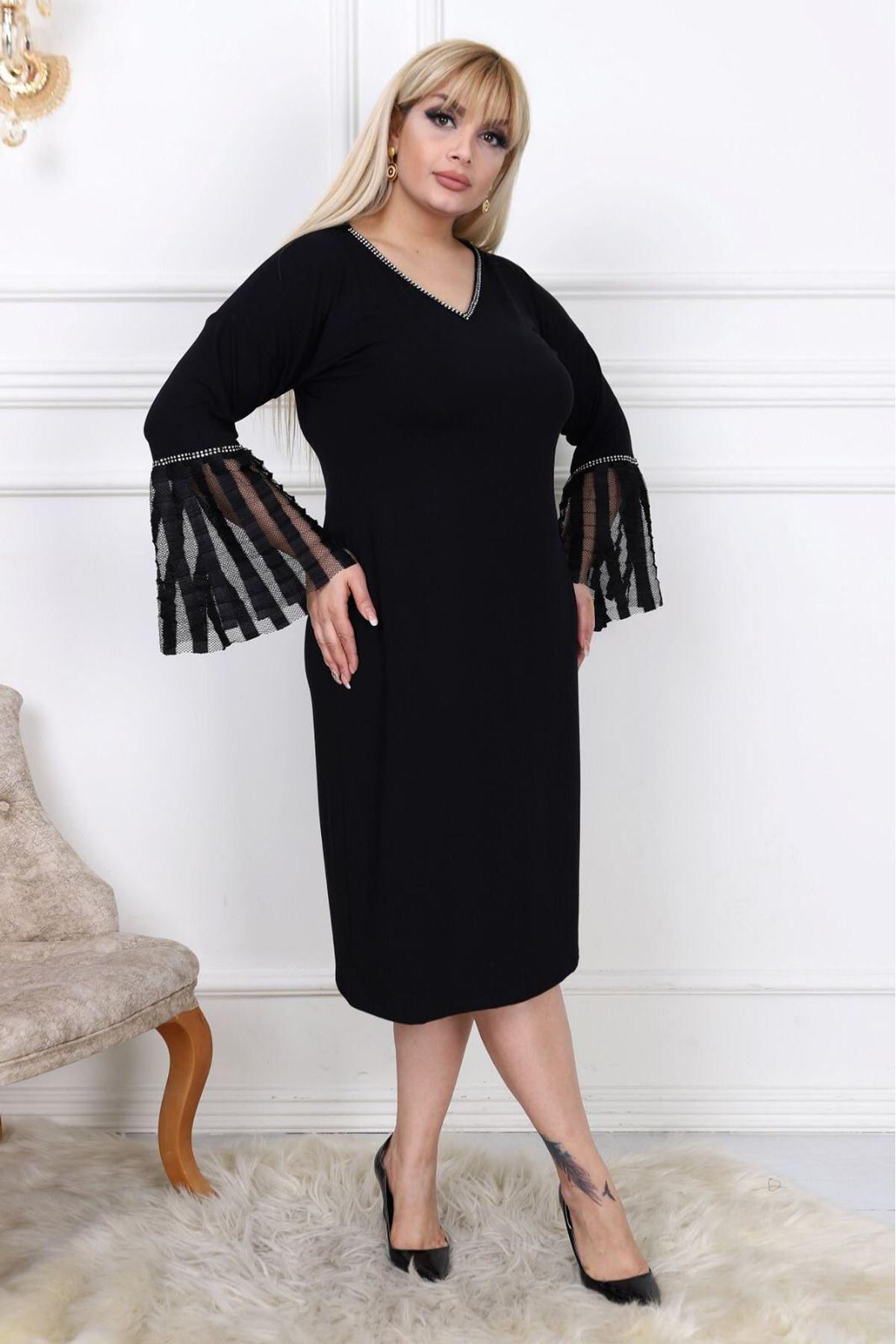 İspanyol Kol V Yaka Elbise H3-0440