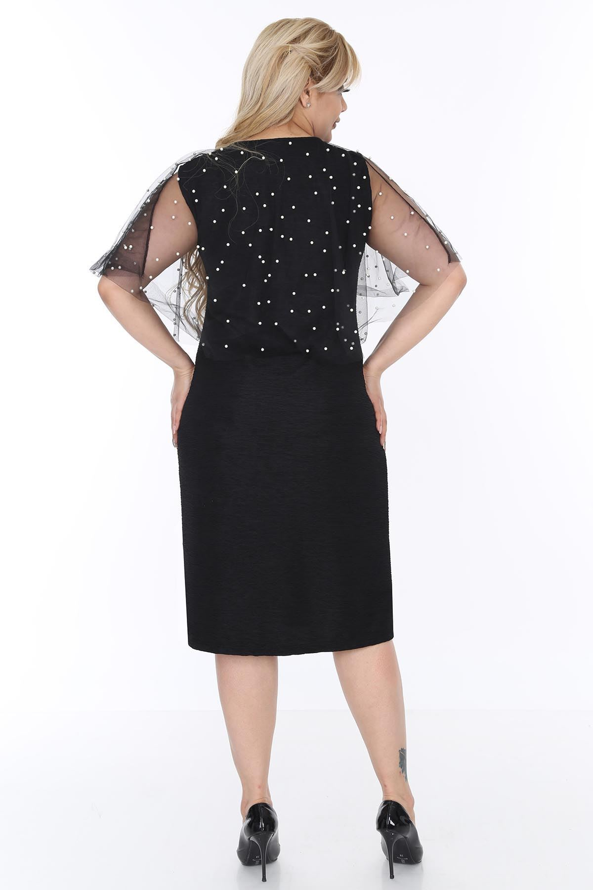 İncili Şallı Büyük Beden Elbise 20L-0504