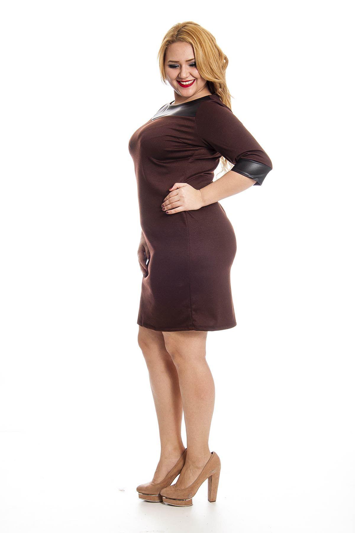 Kahverengi Deri Detaylı Kadın Elbise G2-127378