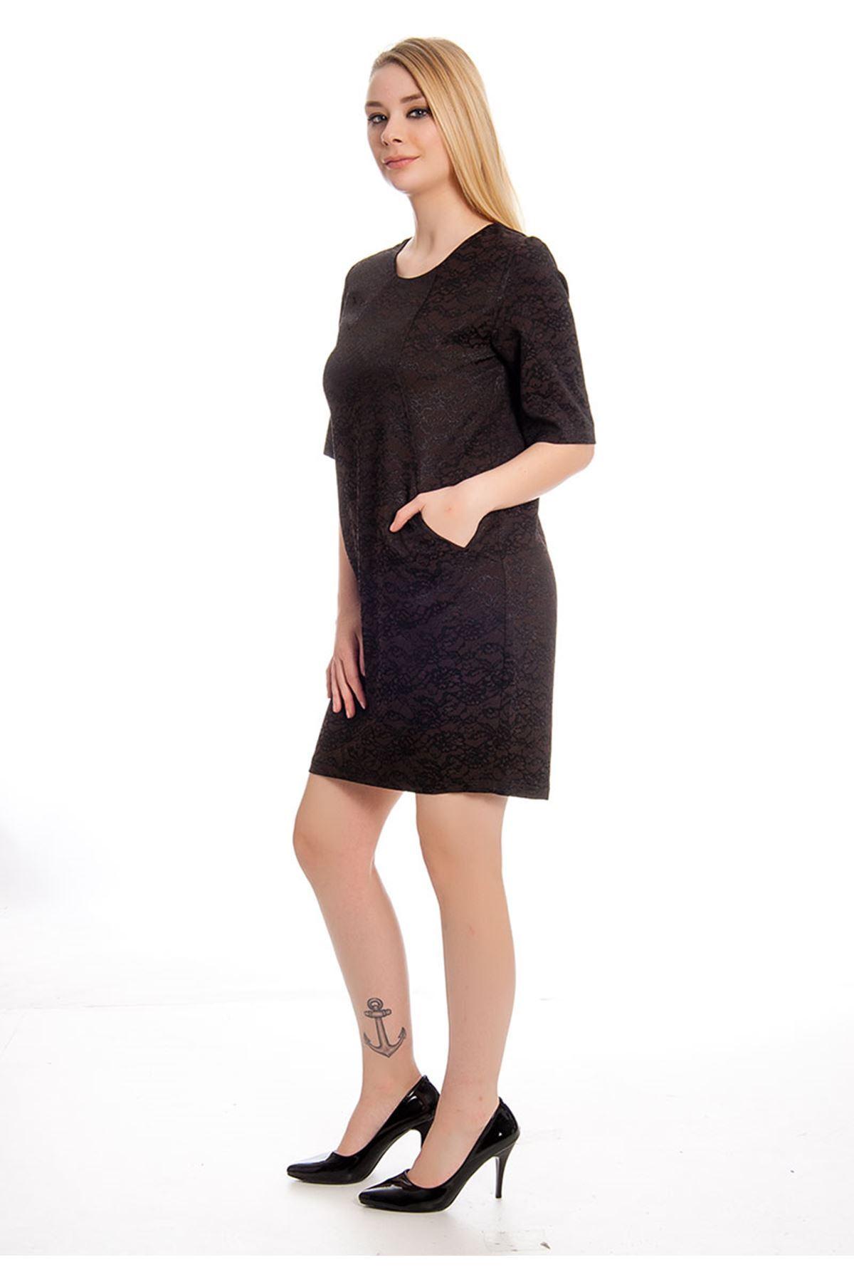 Kahverengi Desenli Kadın Elbise F12-127993