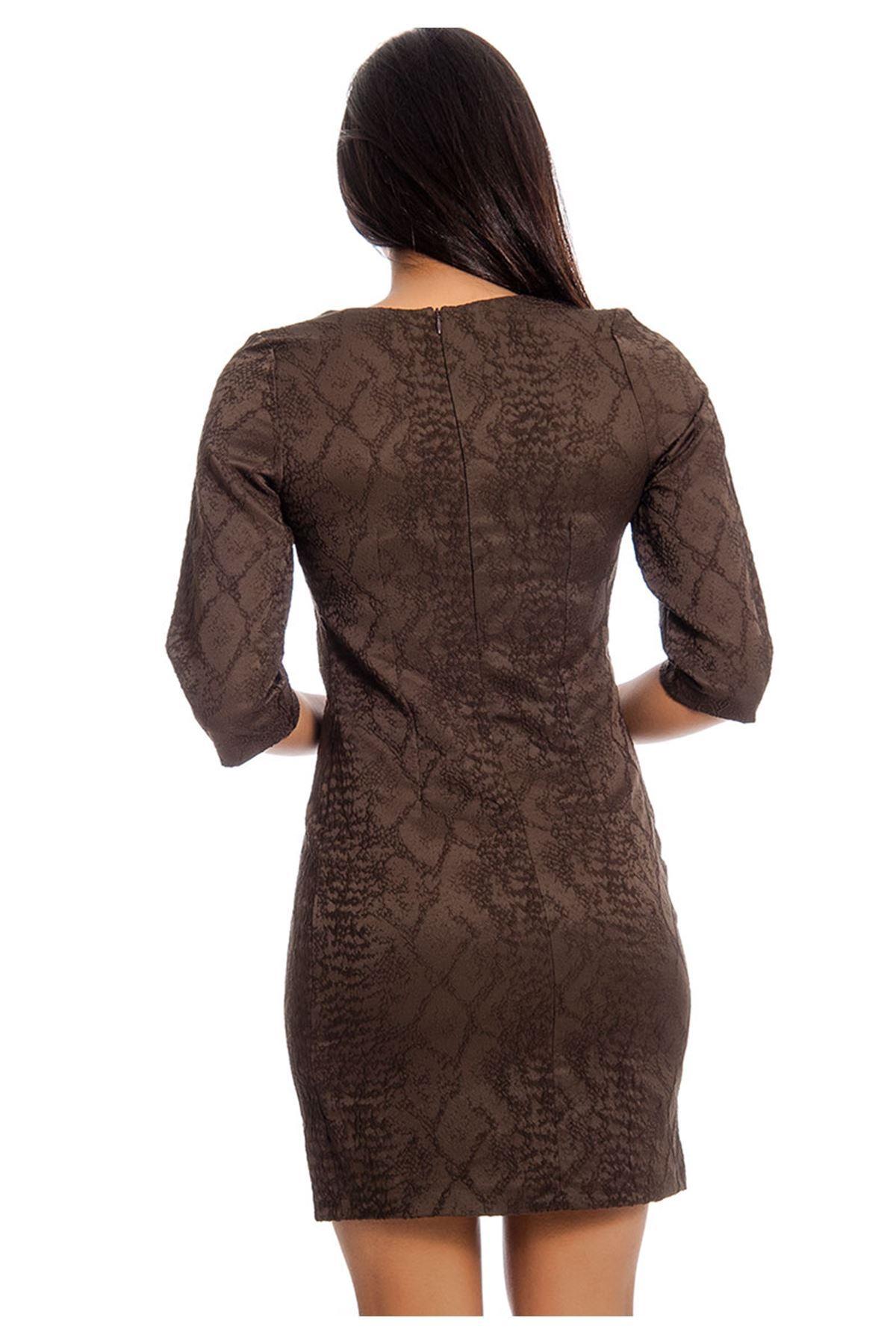 Kahverengi Desenli Kadın Elbise H5-129034