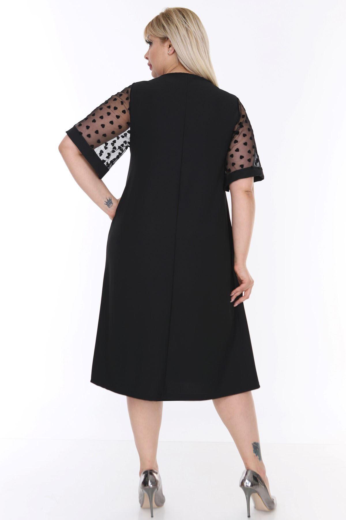 Kalpli Kol Siyah Elbise 1A-0576
