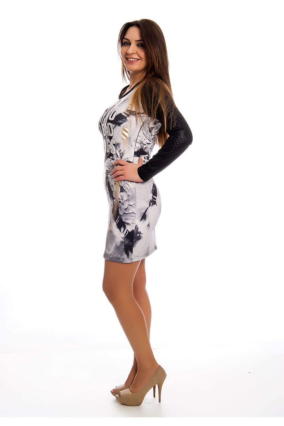 Kapitone Desenli Taş Detaylı Kadın Elbise J11-122485