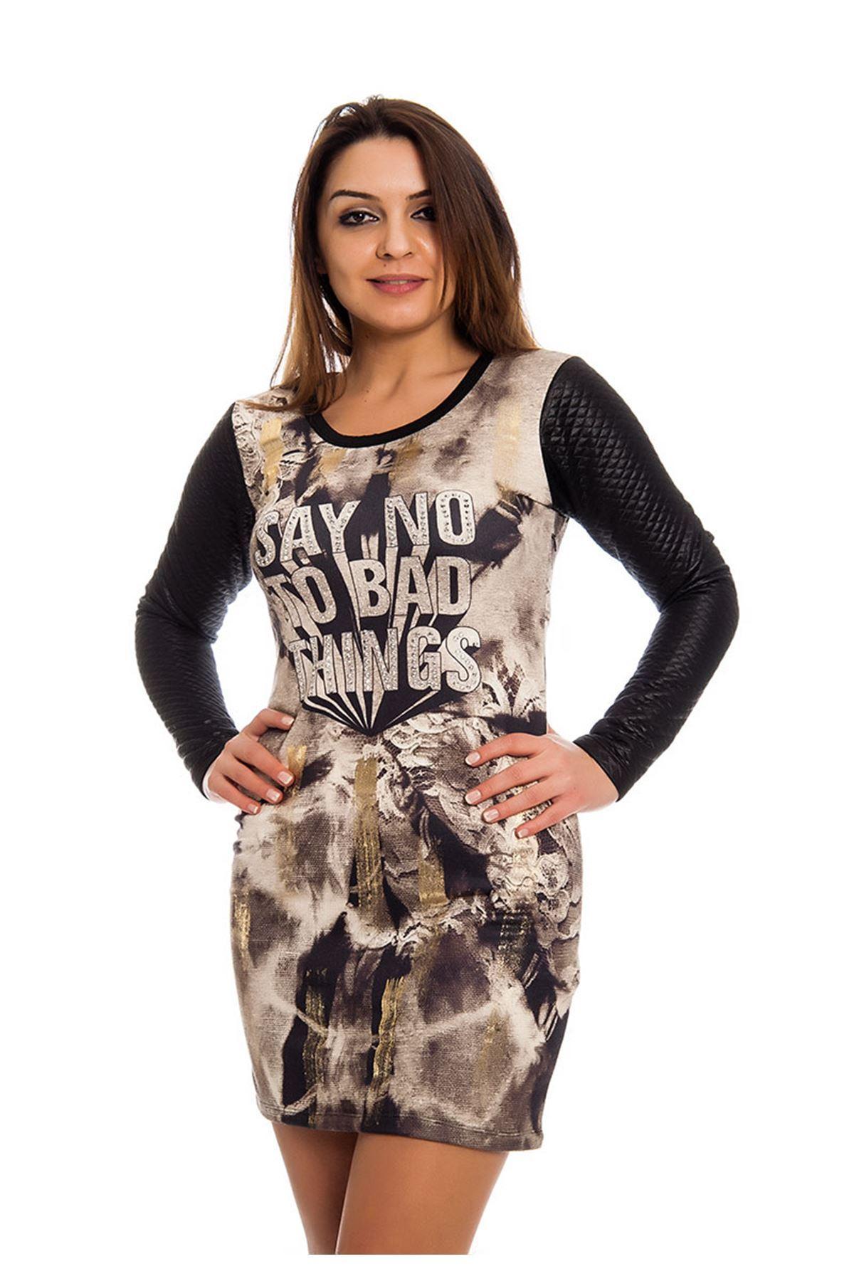 Kapitone Desenli Taş Detaylı Kadın Elbise J11-124561