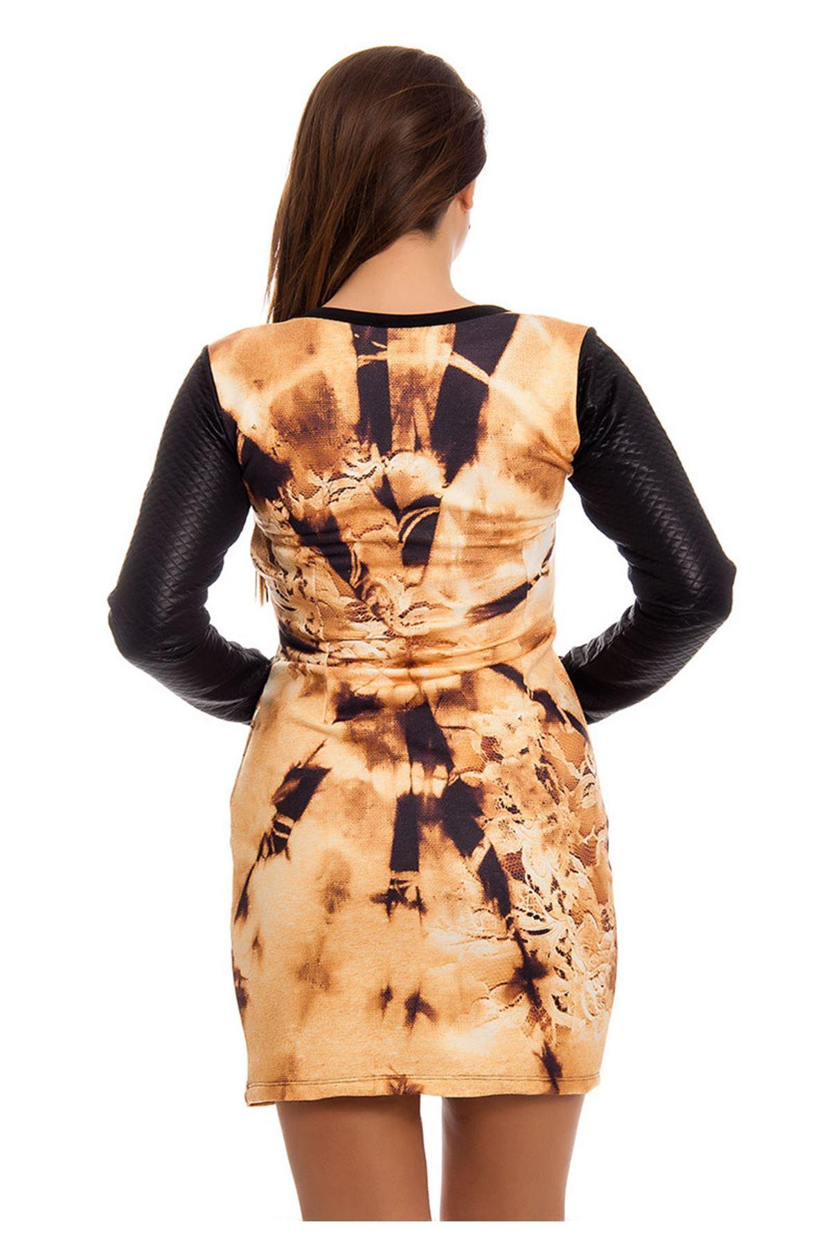 Kapitone Desenli Taş Detaylı Kadın Elbise H7-124565