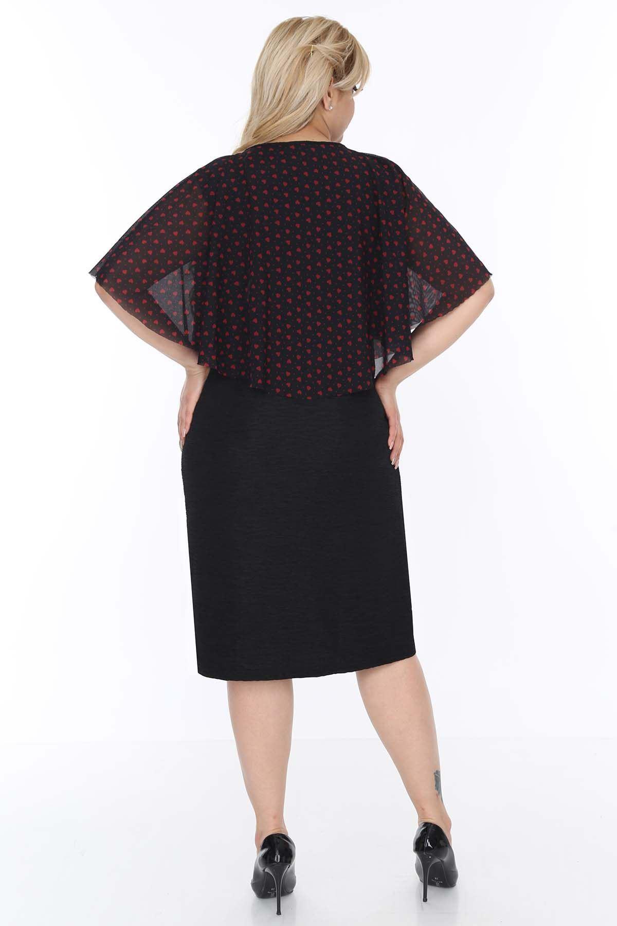 Kalpli Desenli Siyah Elbise 20L-0505