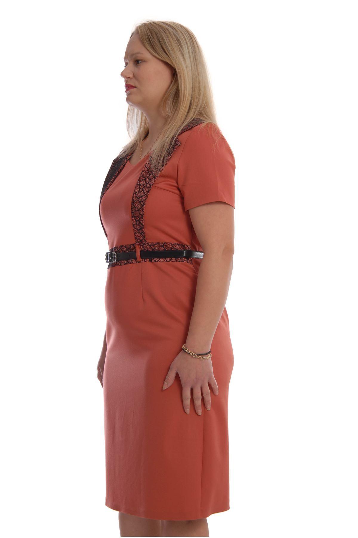Kemerli Büyük Beden Elbise K2-68824