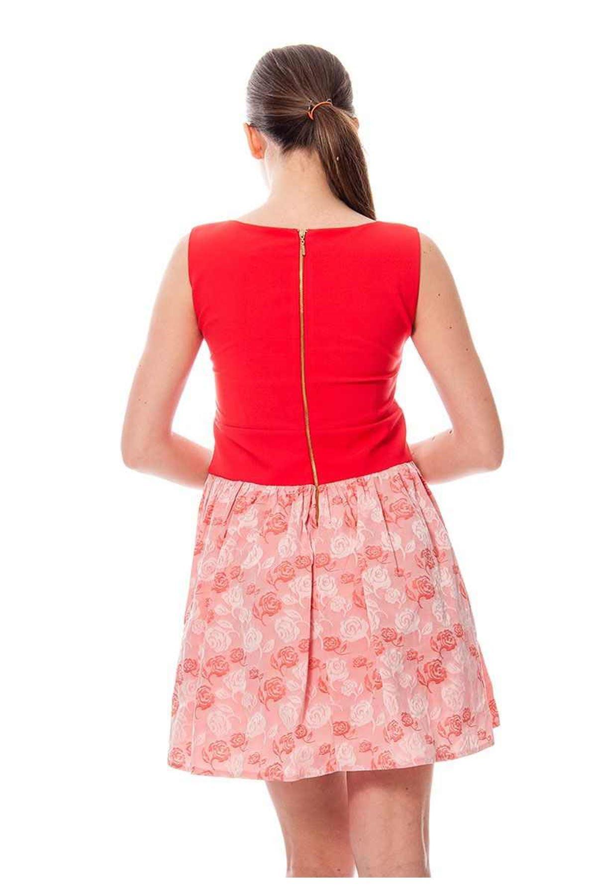 Kırmızı Desenli Kadın Elbise F6-115957